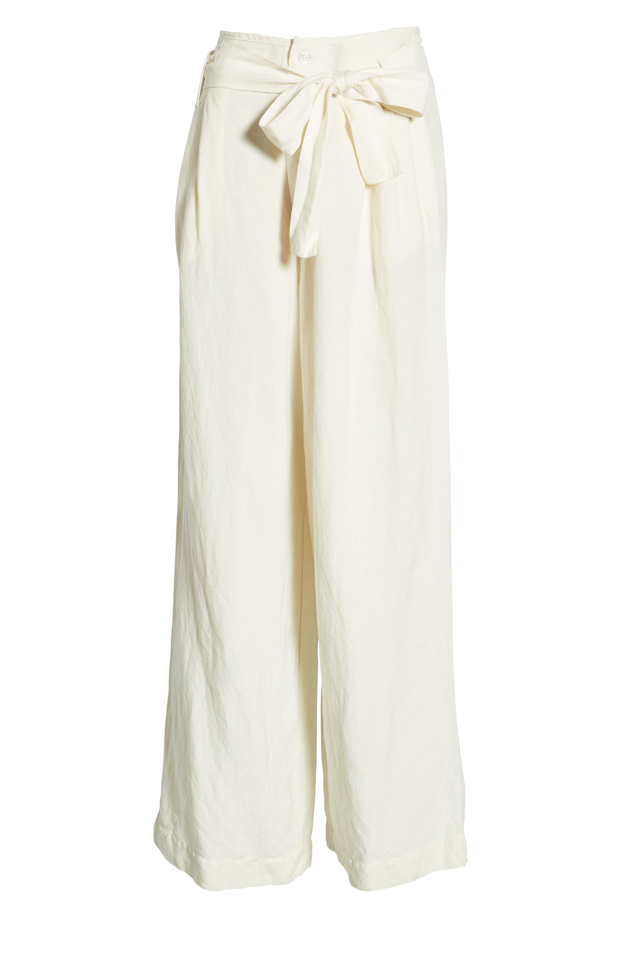 RAILS, Jess Paperbag Waist Pants, Alternate thumbnail 7, color, PARCHMENT