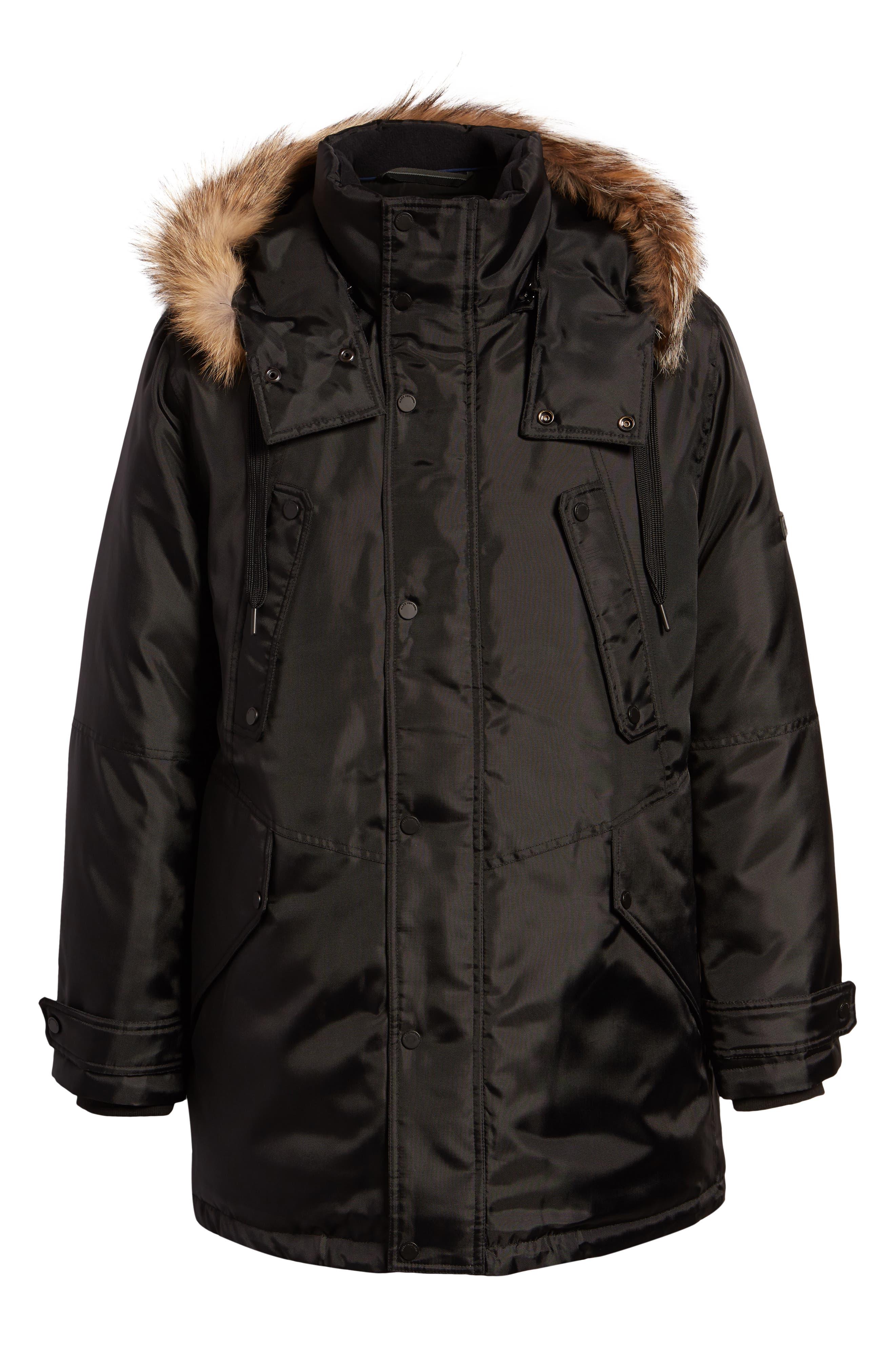MARC NEW YORK, Lafayette Genuine Fur Trim Hooded Parka, Alternate thumbnail 6, color, BLACK