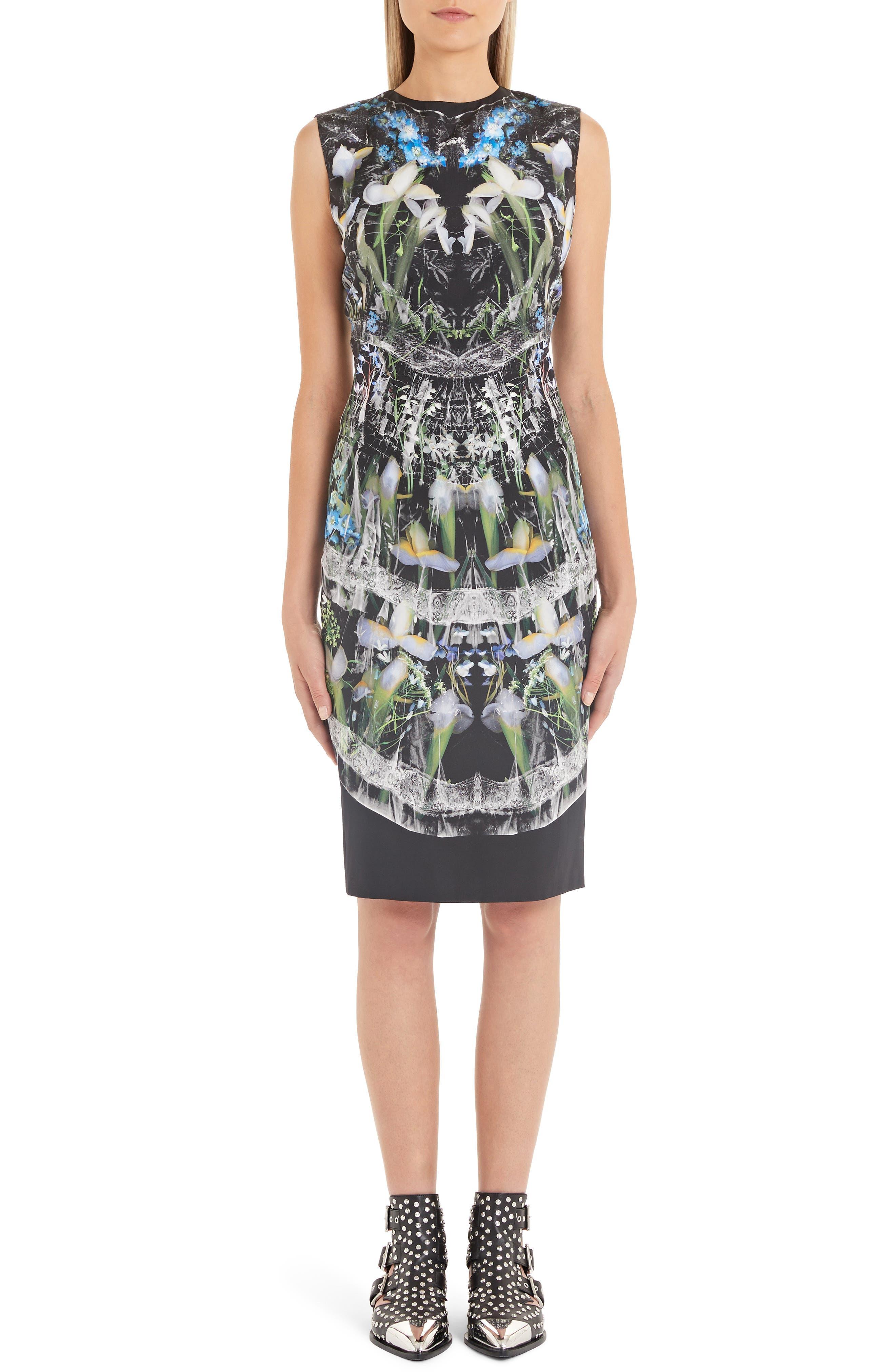 Alexander Mcqueen Ophelia Floral Print Silk Pencil Dress, US / 42 IT - Black