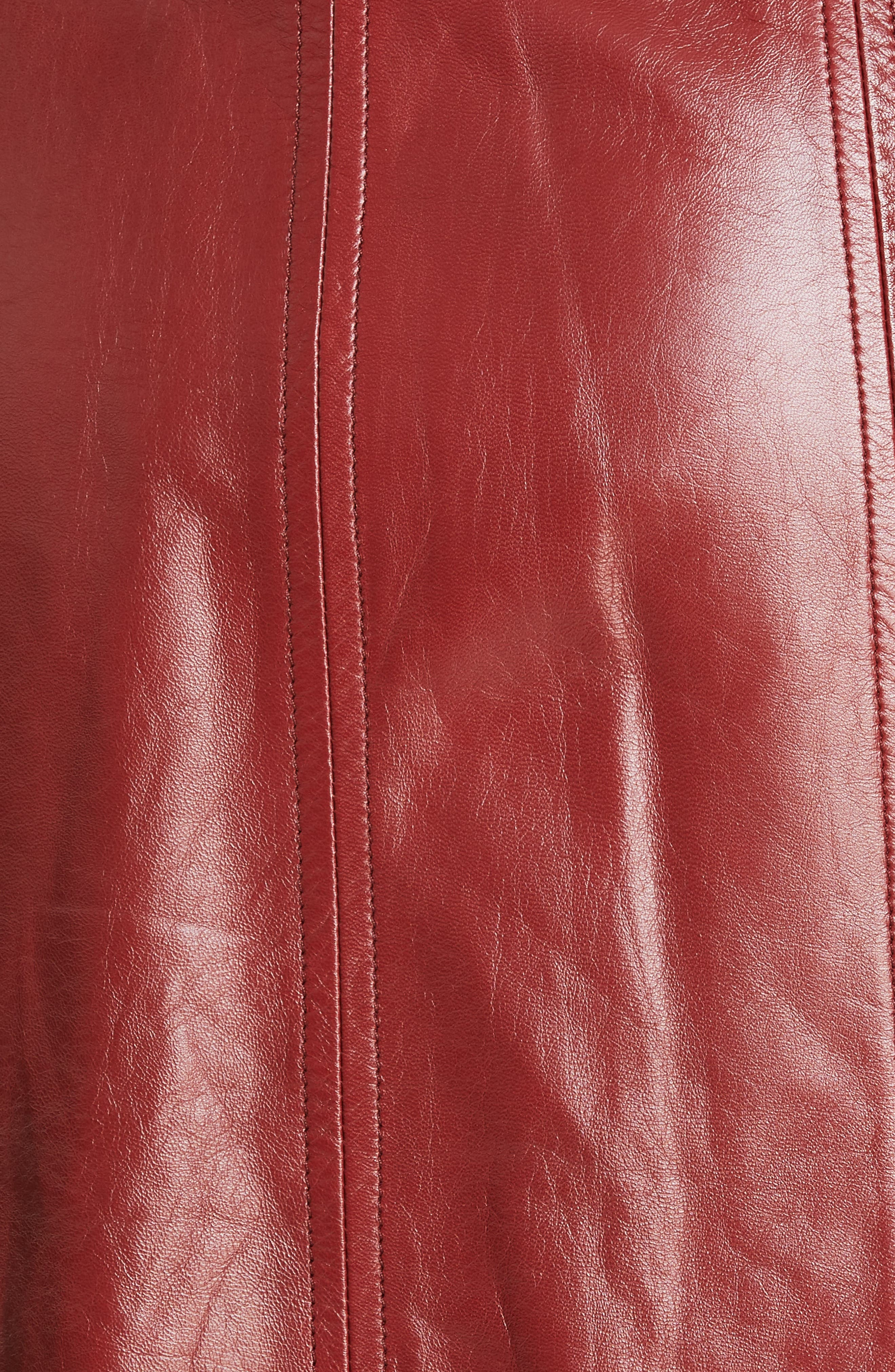 REBECCA TAYLOR, Leather Skirt, Alternate thumbnail 5, color, SPICE