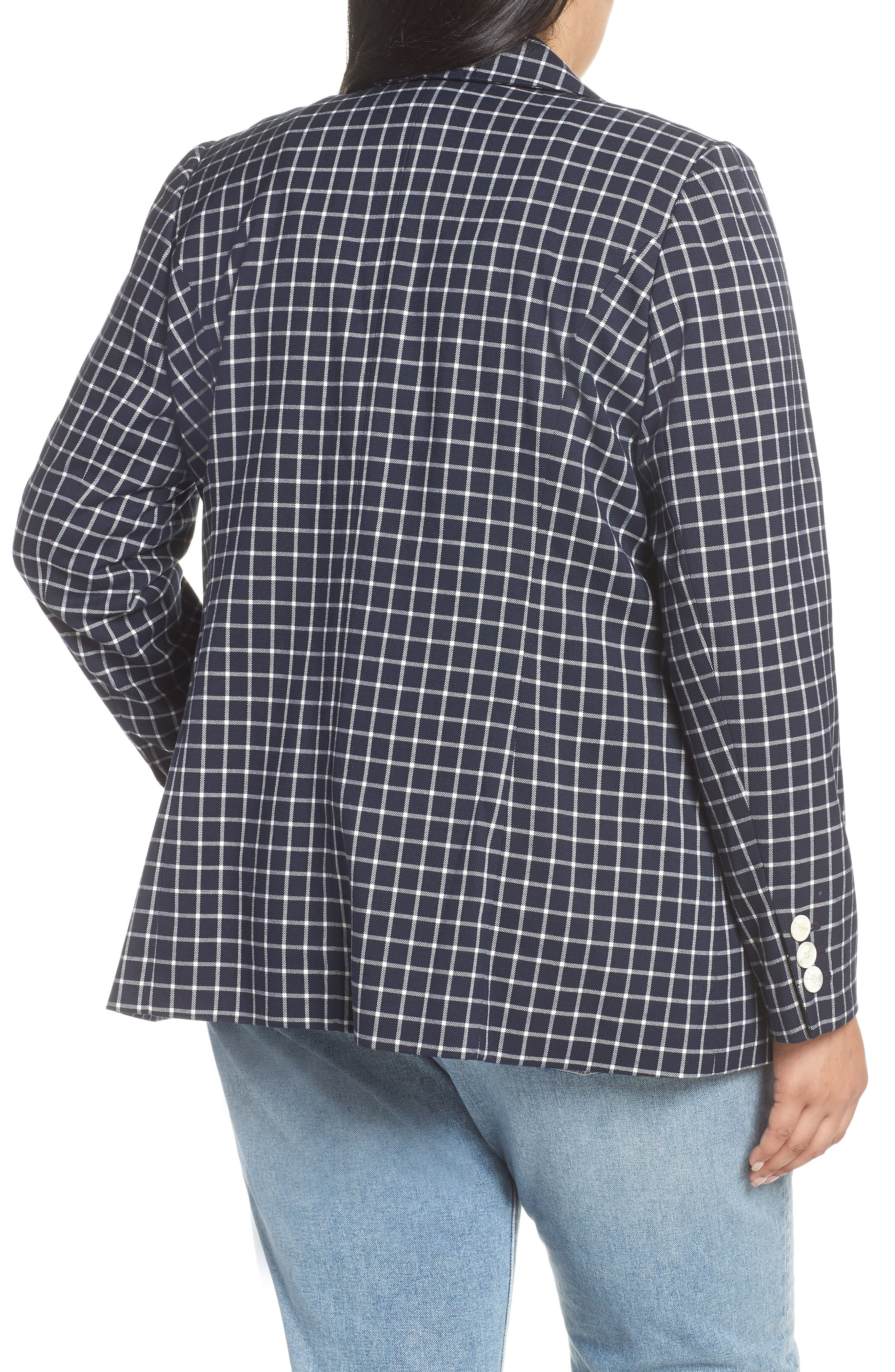 HALOGEN<SUP>®</SUP>, Double Breasted Check Blazer, Alternate thumbnail 2, color, NAVY CHECK