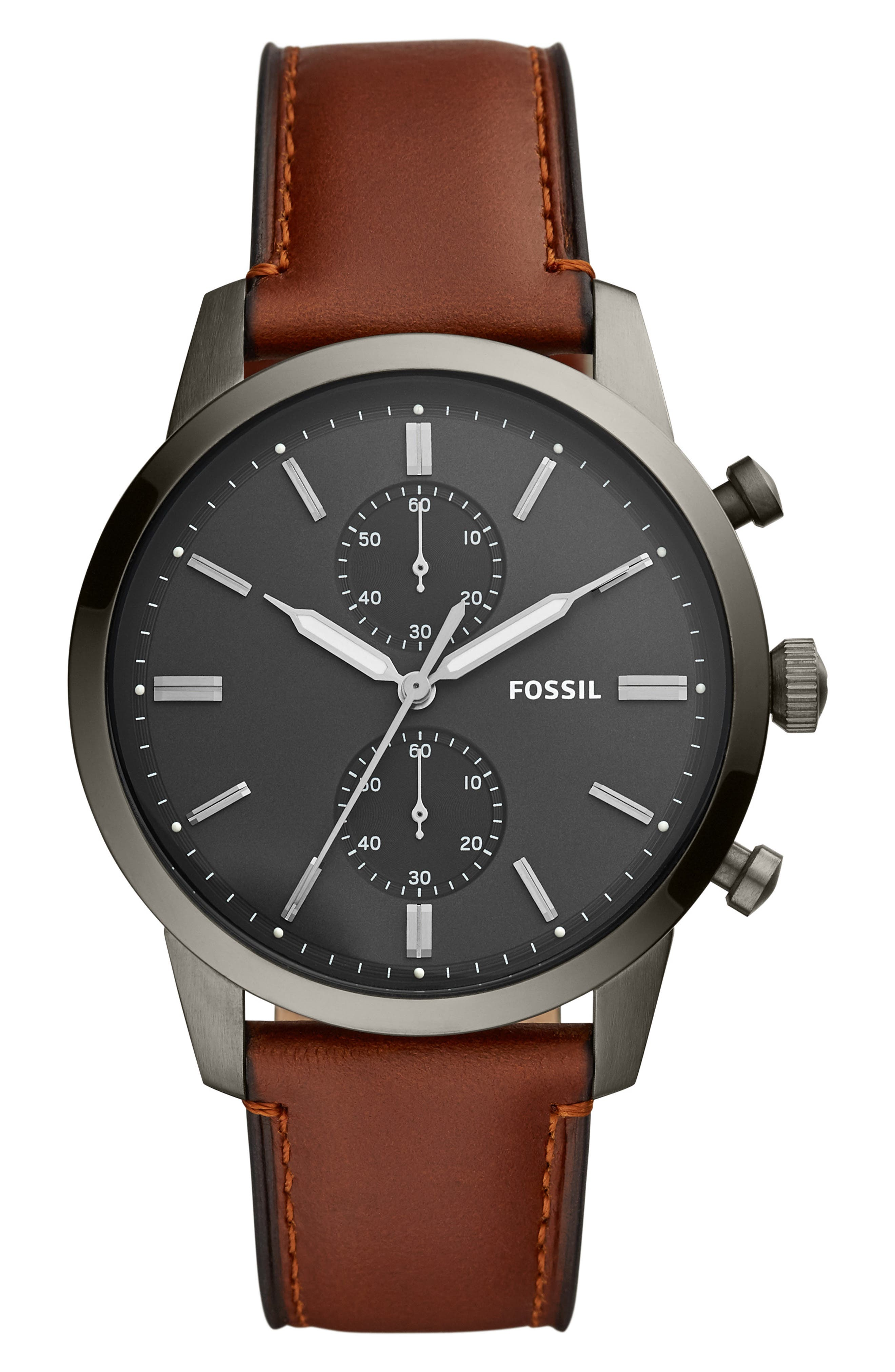 FOSSIL, Townsman Chronograph Leather Strap Watch, 44mm, Main thumbnail 1, color, BROWN/ GREY/ SMOKE