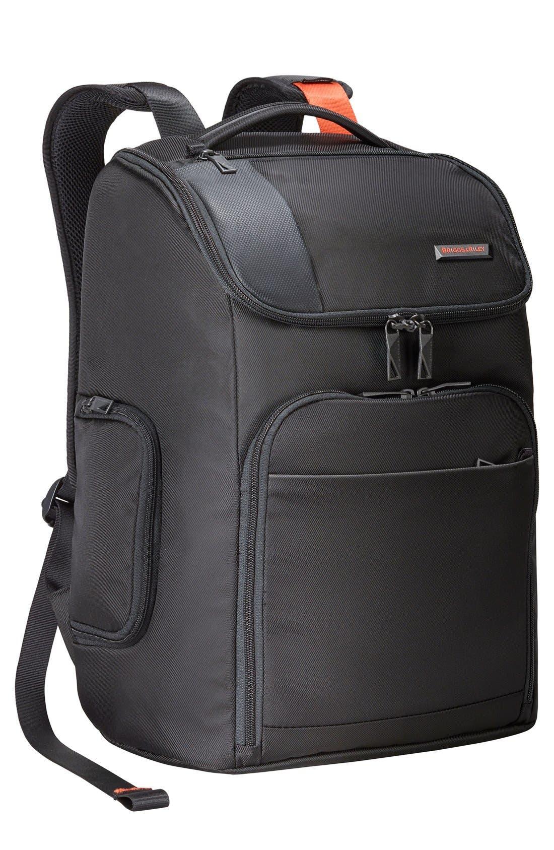 BRIGGS & RILEY, Verb - Advance Water & Wear Resistant Ballistic Nylon Backpack, Main thumbnail 1, color, BLACK