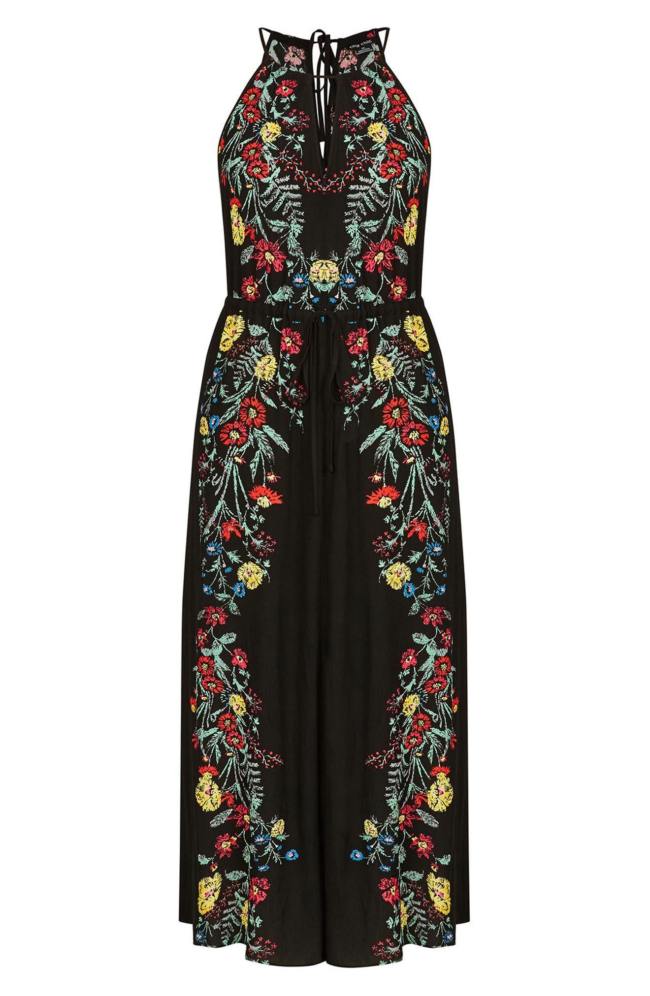 CITY CHIC, Secret Vine Maxi Dress, Alternate thumbnail 3, color, BLACK