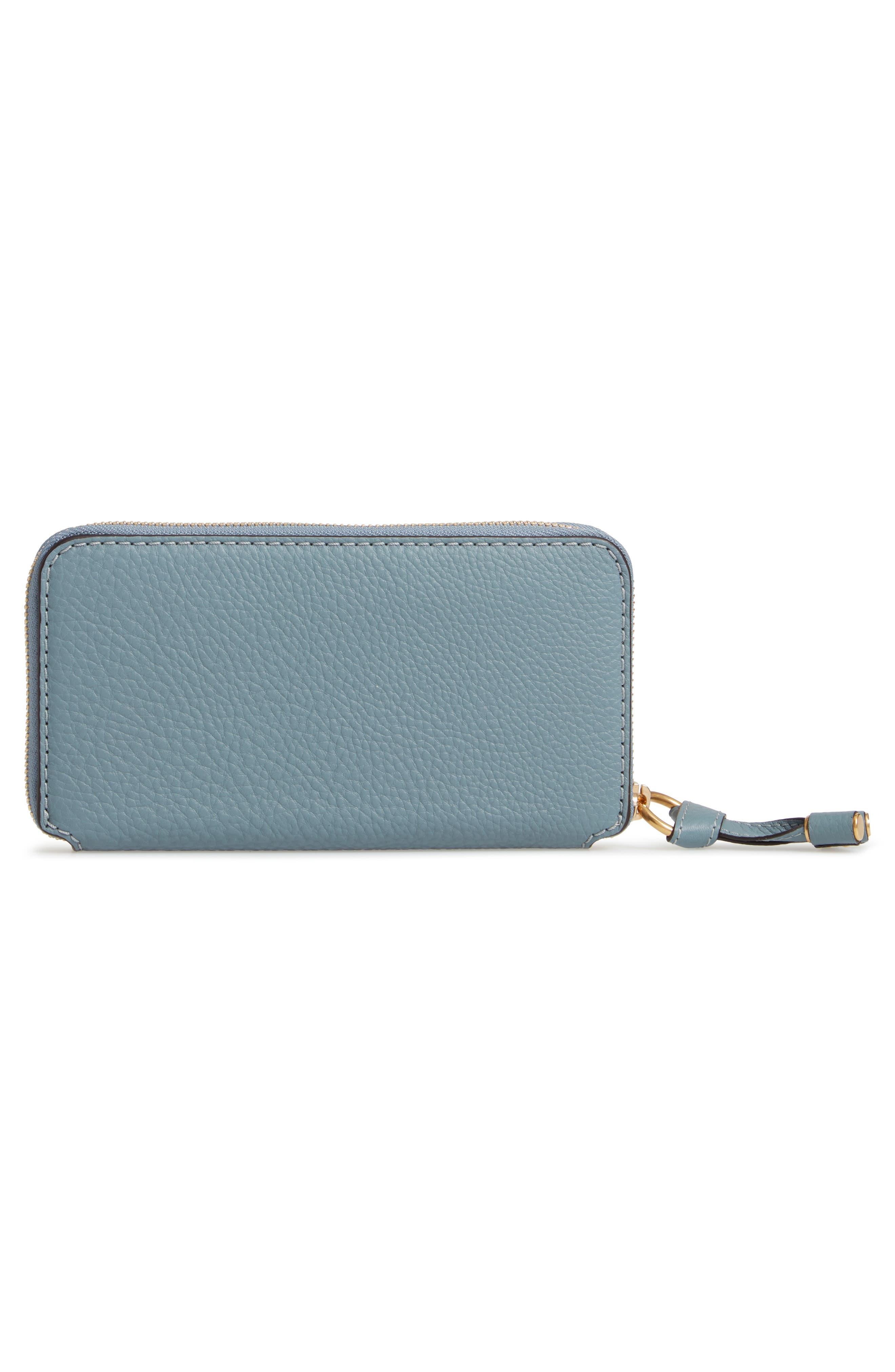 CHLOÉ, 'Marcie - Long' Zip Around Wallet, Alternate thumbnail 3, color, CLOUDY BLUE