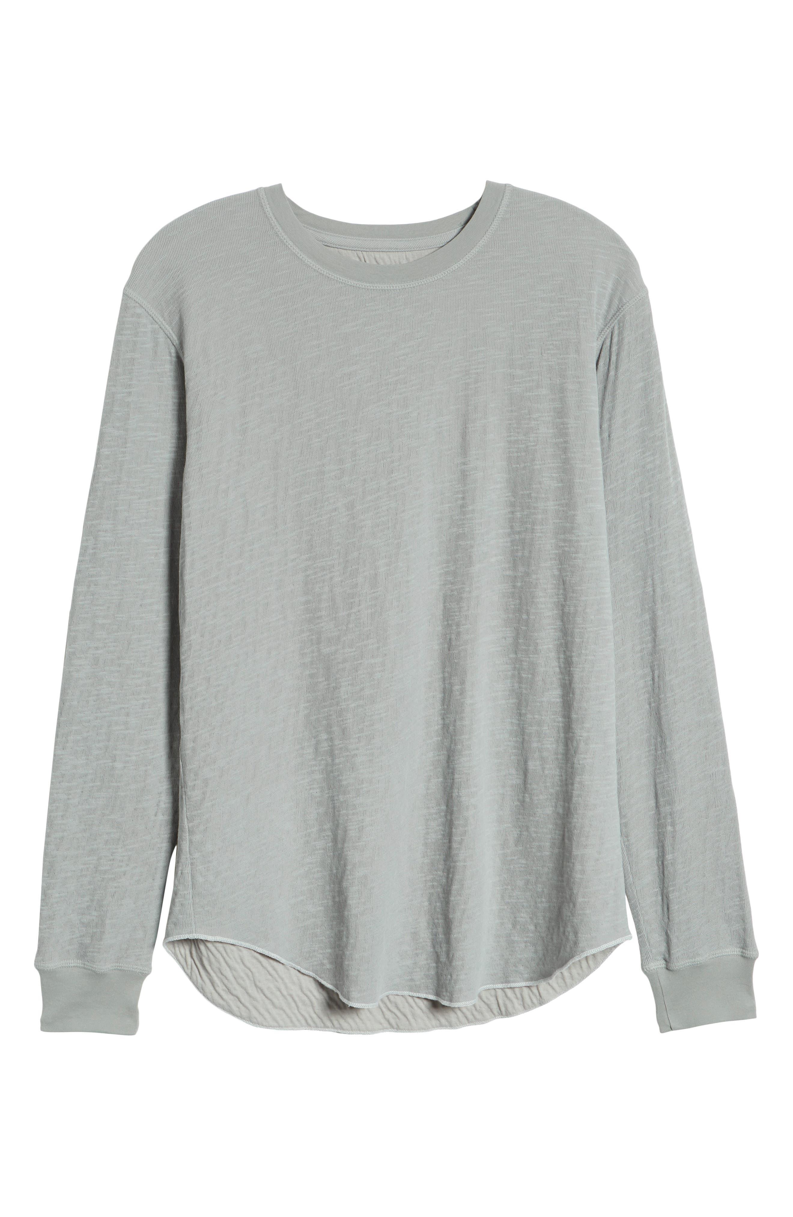 GOODLIFE, Double Layer Slim Crewneck T-Shirt, Alternate thumbnail 6, color, QUARRY