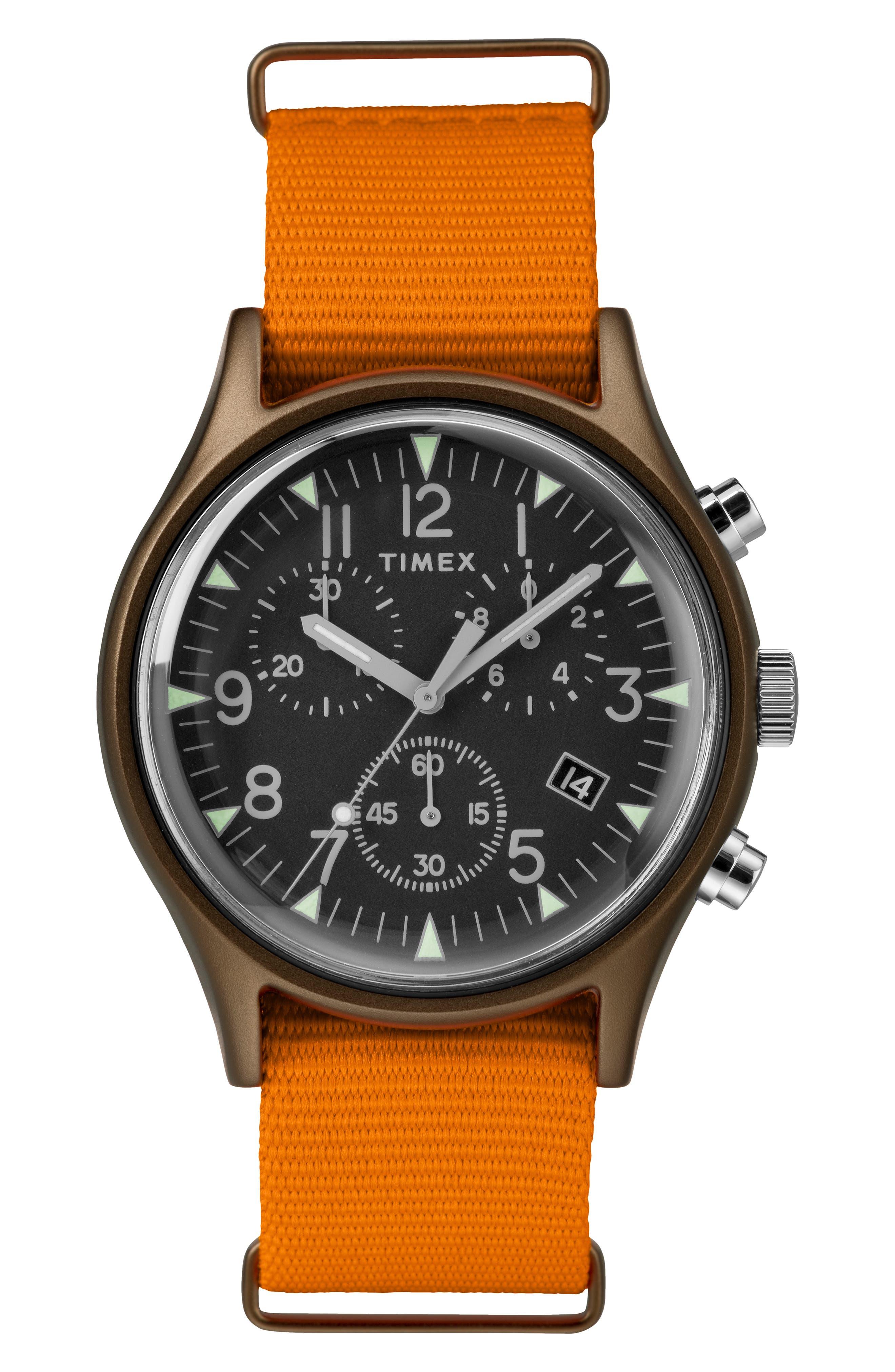 TIMEX<SUP>®</SUP> MK1 Chronograph Nylon Strap Watch, 40mm, Main, color, ORANGE/ BLACK/ OLIVE