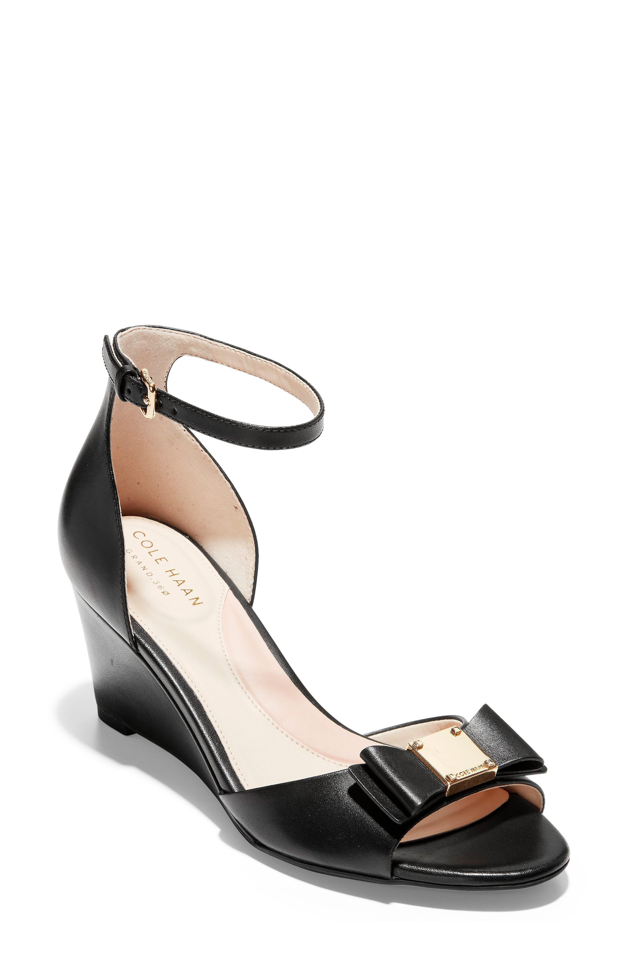 COLE HAAN, Tali Bow Wedge Sandal, Main thumbnail 1, color, BLACK LEATHER