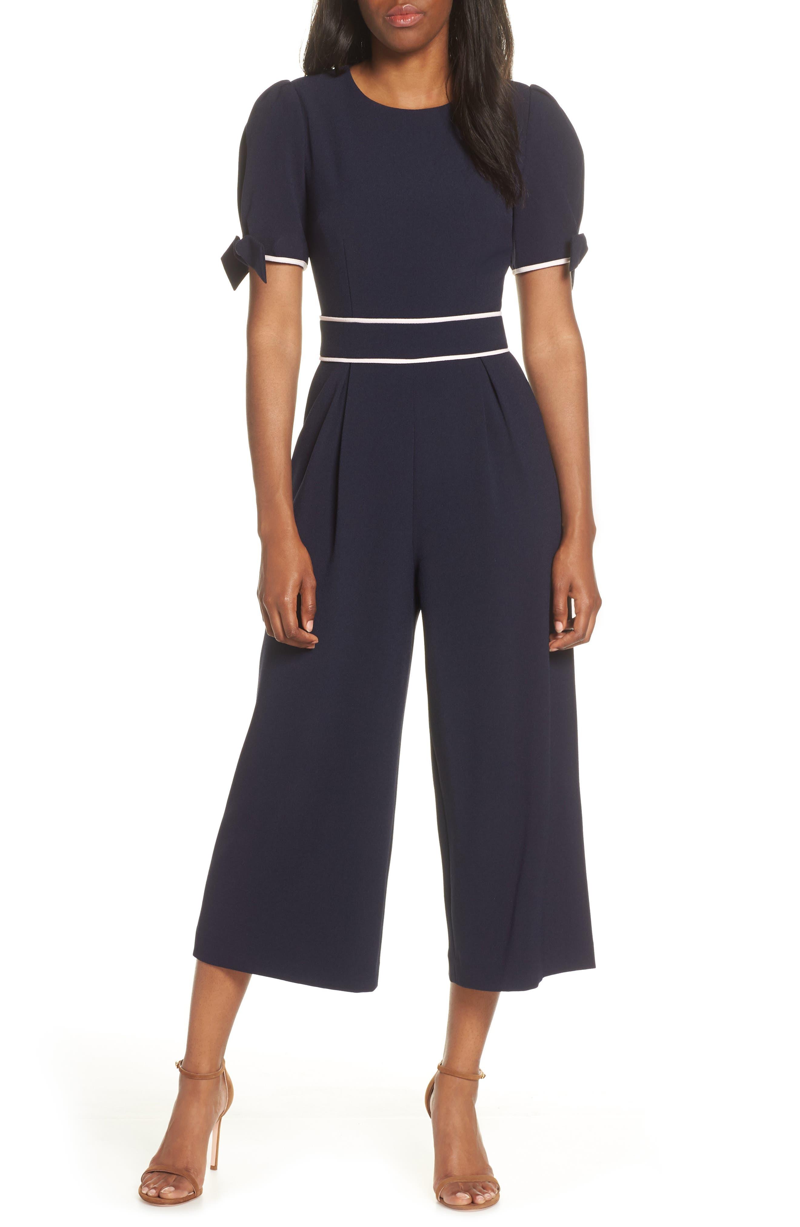 ELIZA J Crop Jumpsuit, Main, color, NAVY