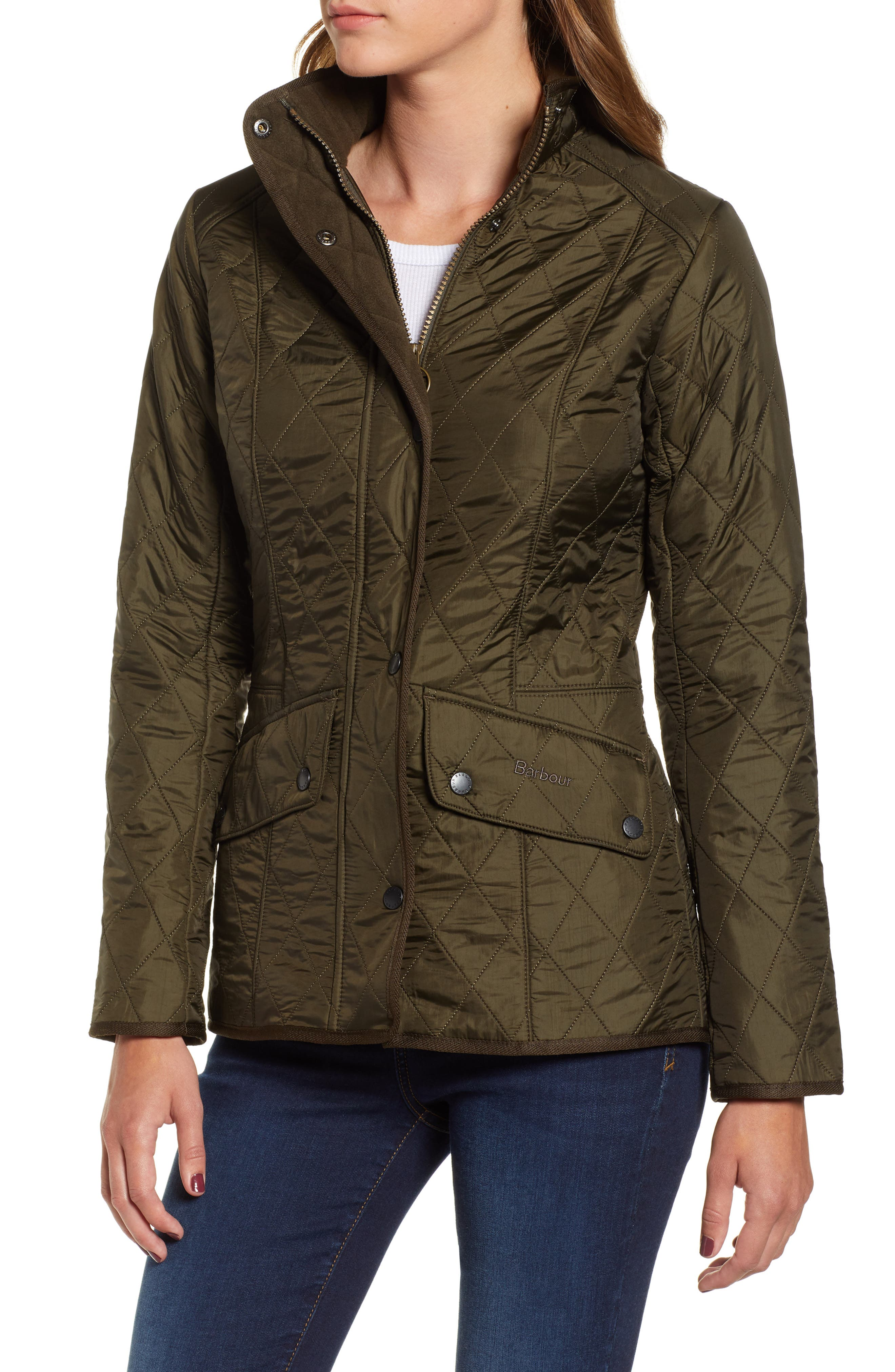 BARBOUR, 'Cavalry' Quilted Jacket, Alternate thumbnail 4, color, DARK OLIVE/ OLIVE