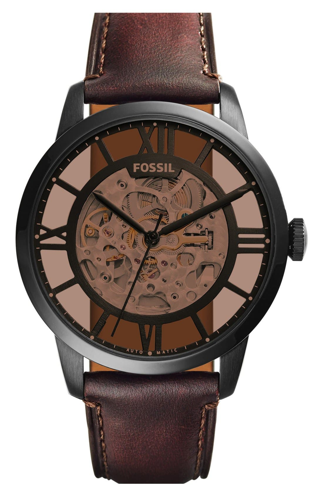 FOSSIL, 'Townsman' Automatic Leather Strap Watch, 44mm, Main thumbnail 1, color, BROWN/ AMBER