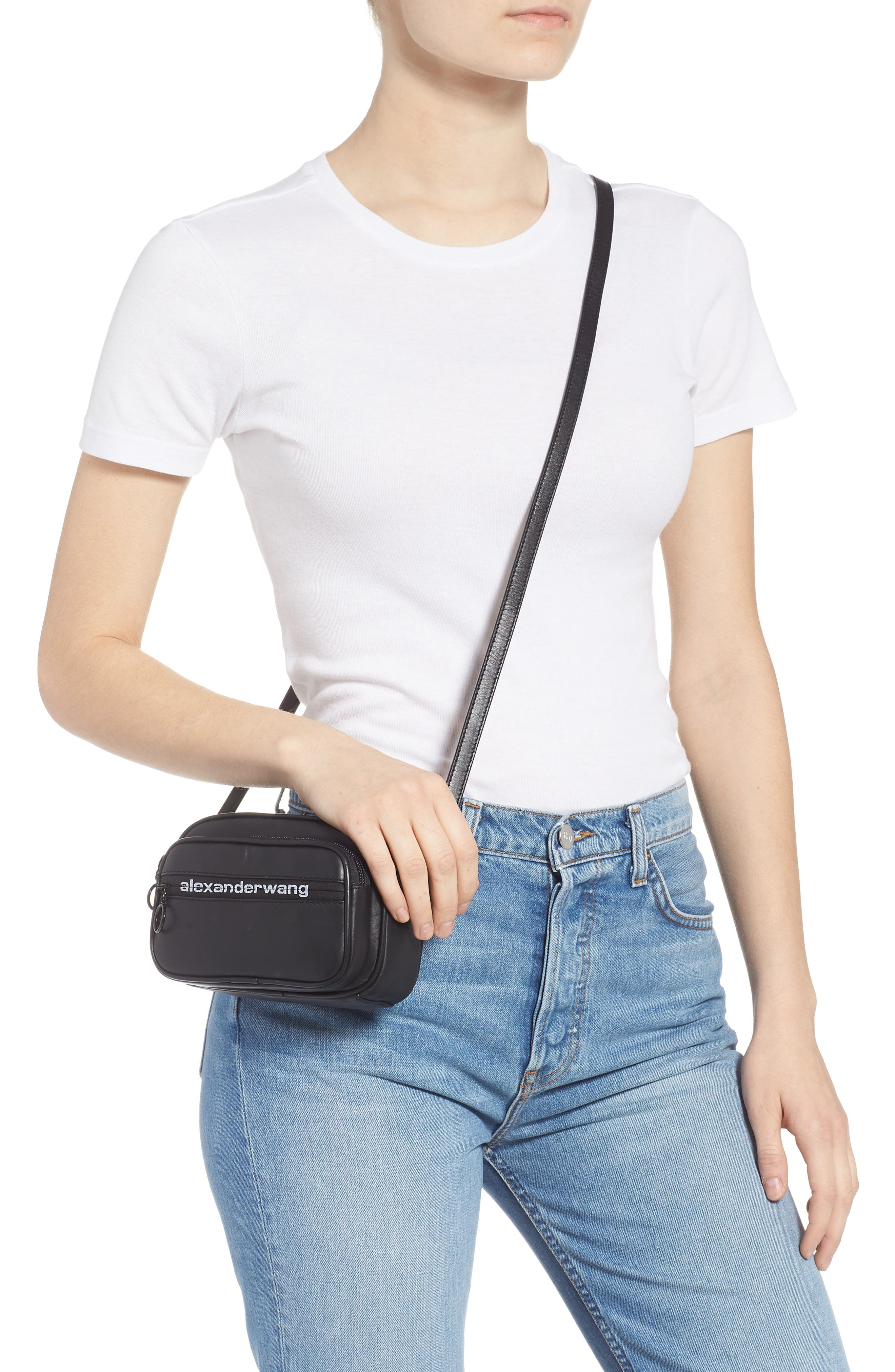 ALEXANDER WANG, Attica Logo Leather Belt Bag, Alternate thumbnail 2, color, BLACK