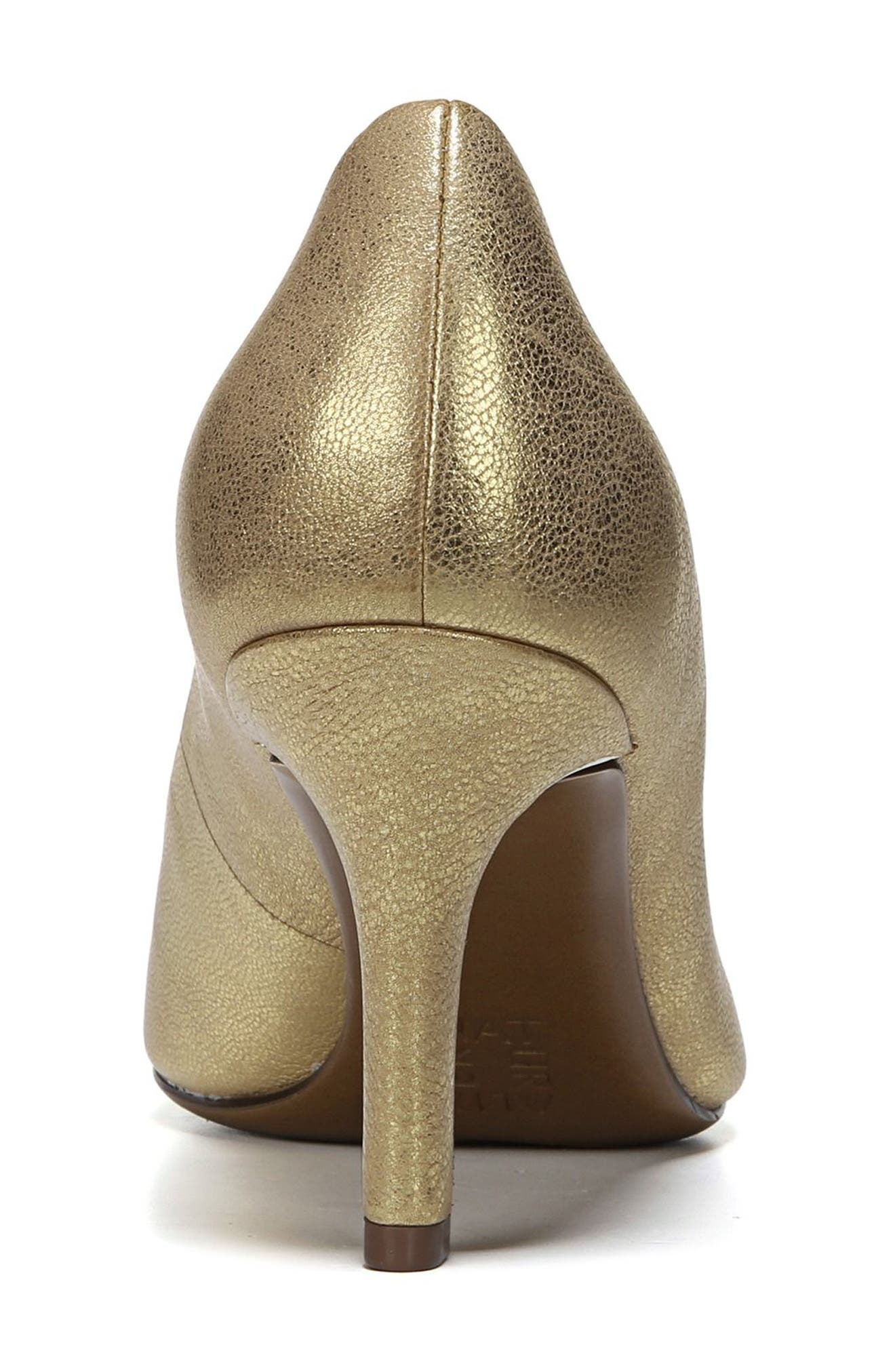 NATURALIZER, Natalie Pointy Toe Pump, Alternate thumbnail 7, color, GOLD LEATHER