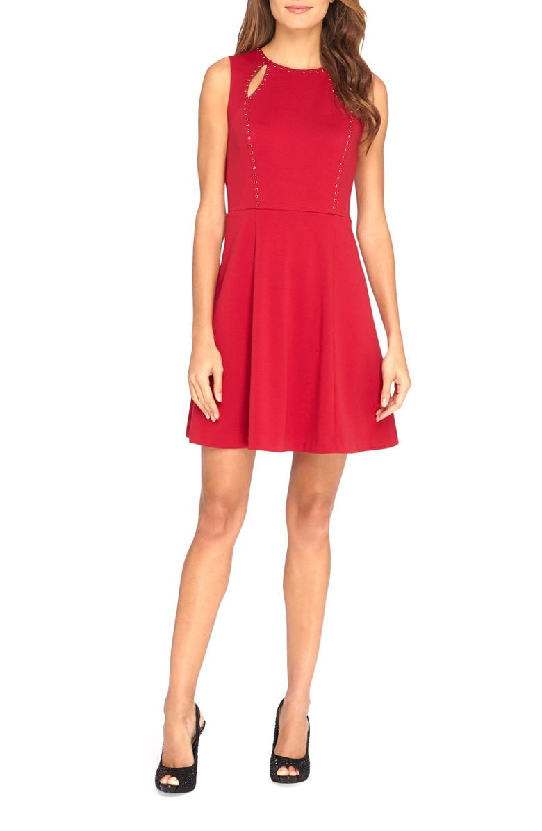 85477009d9f8d 'Bird' Embellished Ponte Fit & Flare Dress
