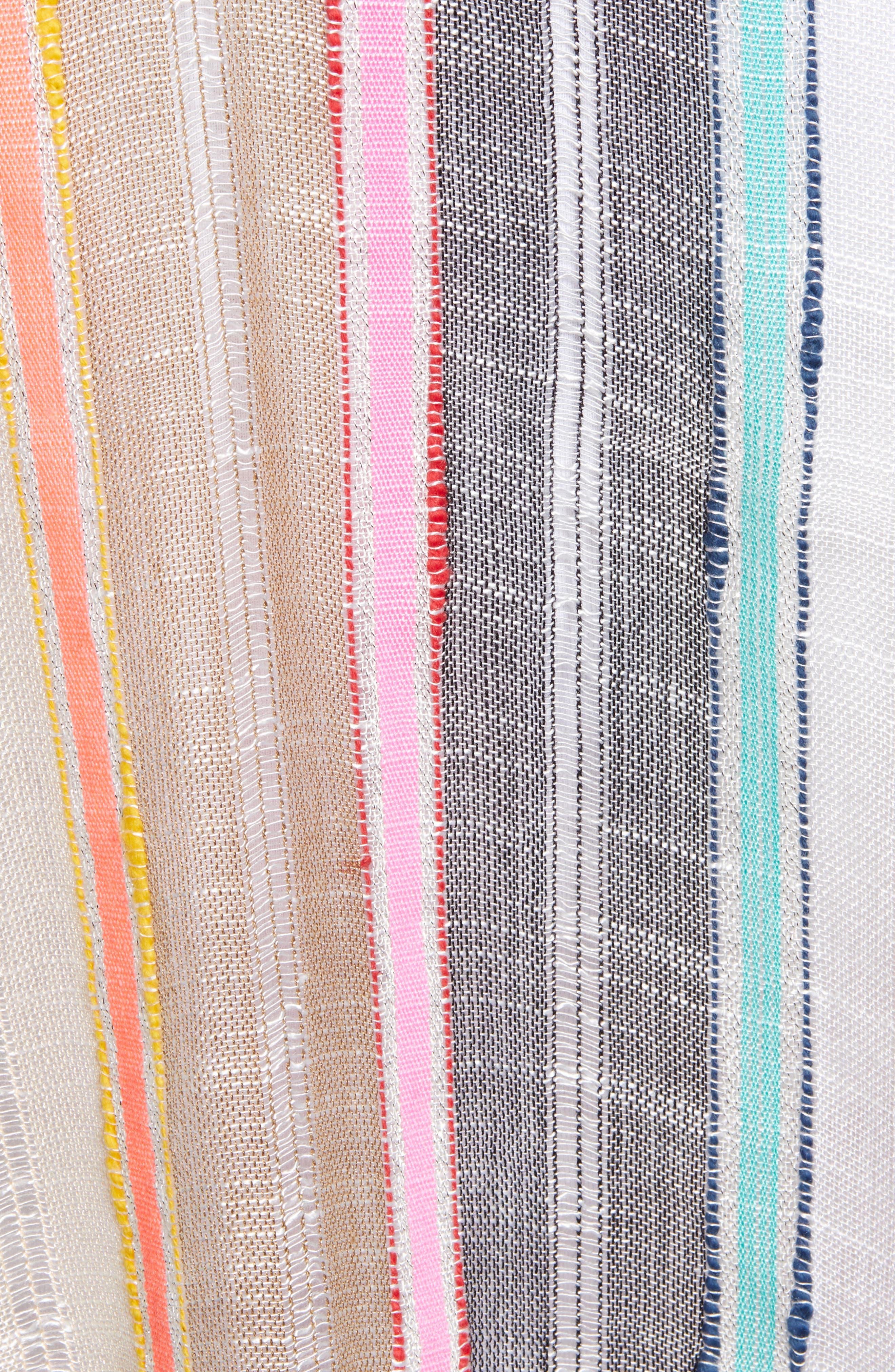 ECHO, Boardwalk Stripe Square Ruana, Alternate thumbnail 5, color, MULTI