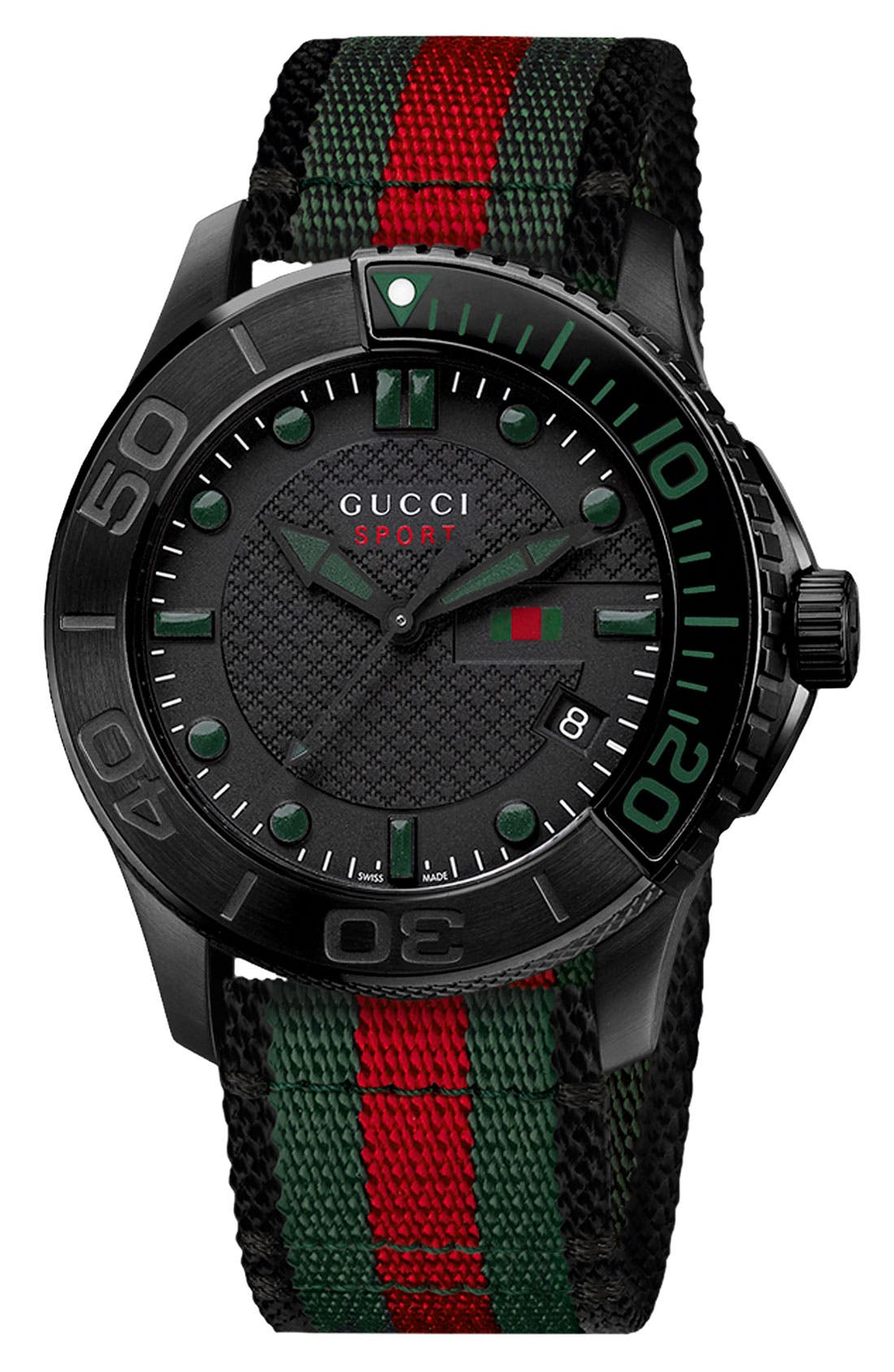 GUCCI 'G Timeless' Nylon Strap Watch, 44mm, Main, color, 001