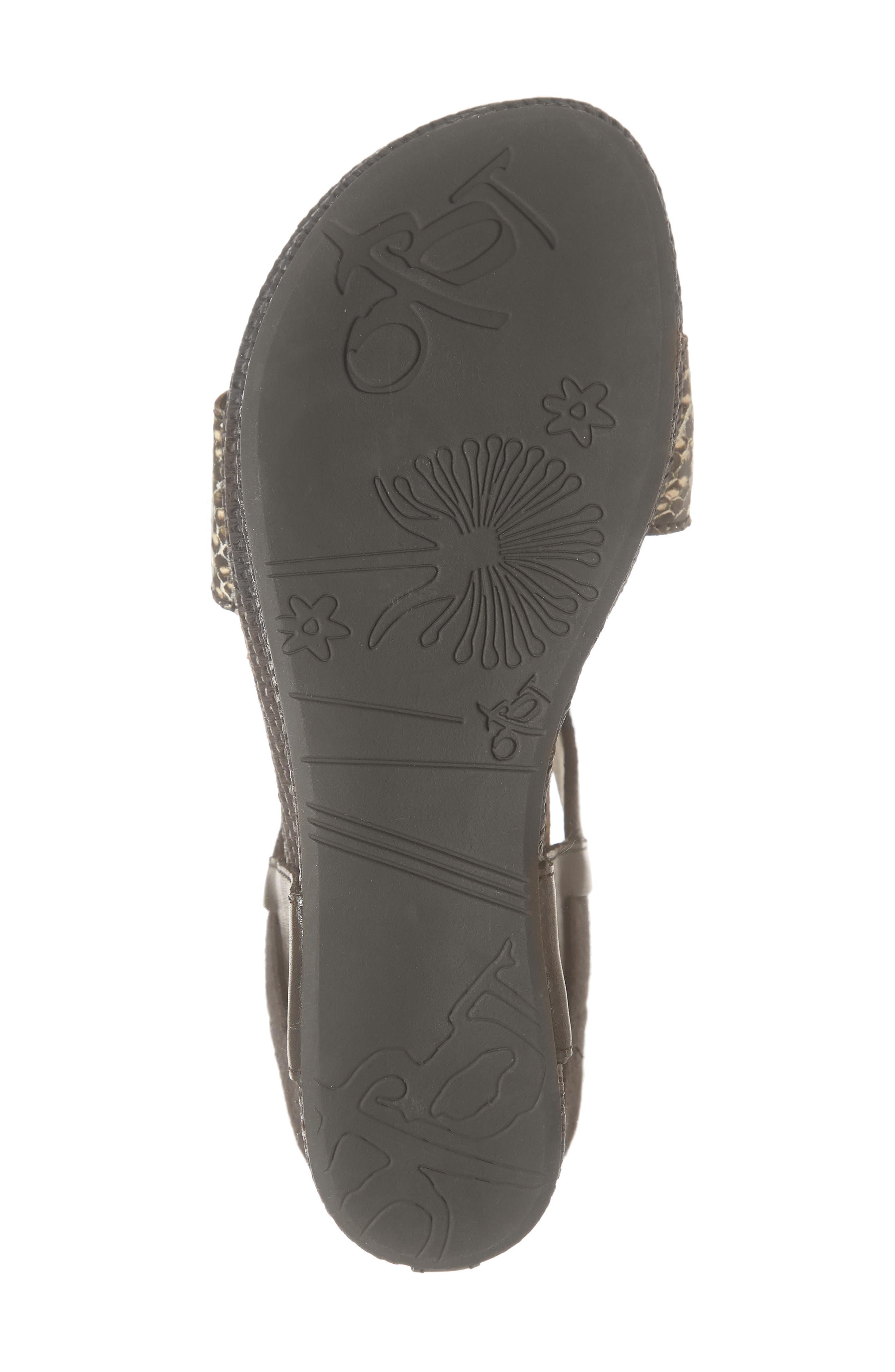 OTBT, 'Bushnell' Wedge Sandal, Alternate thumbnail 6, color, BLACK/ BLACK LEATHER