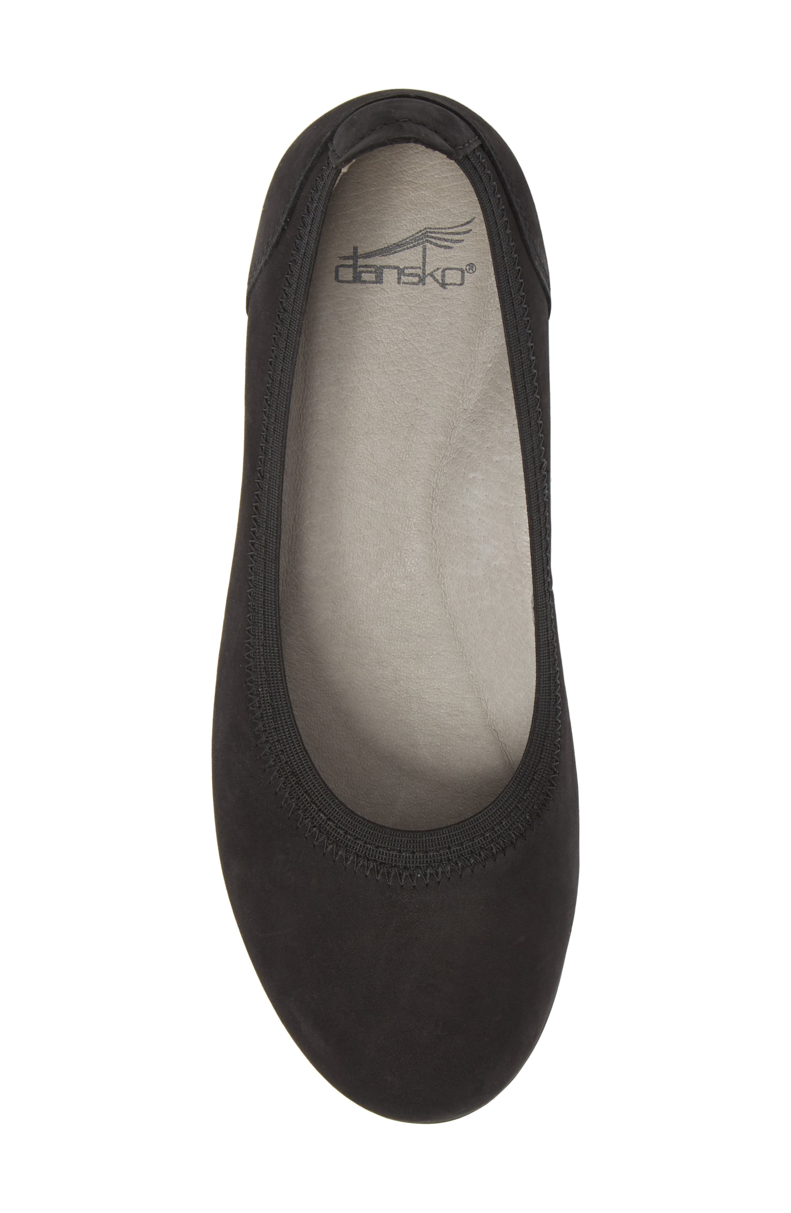 DANSKO, Kristen Ballet Flat, Alternate thumbnail 5, color, BLACK MILLED NUBUCK
