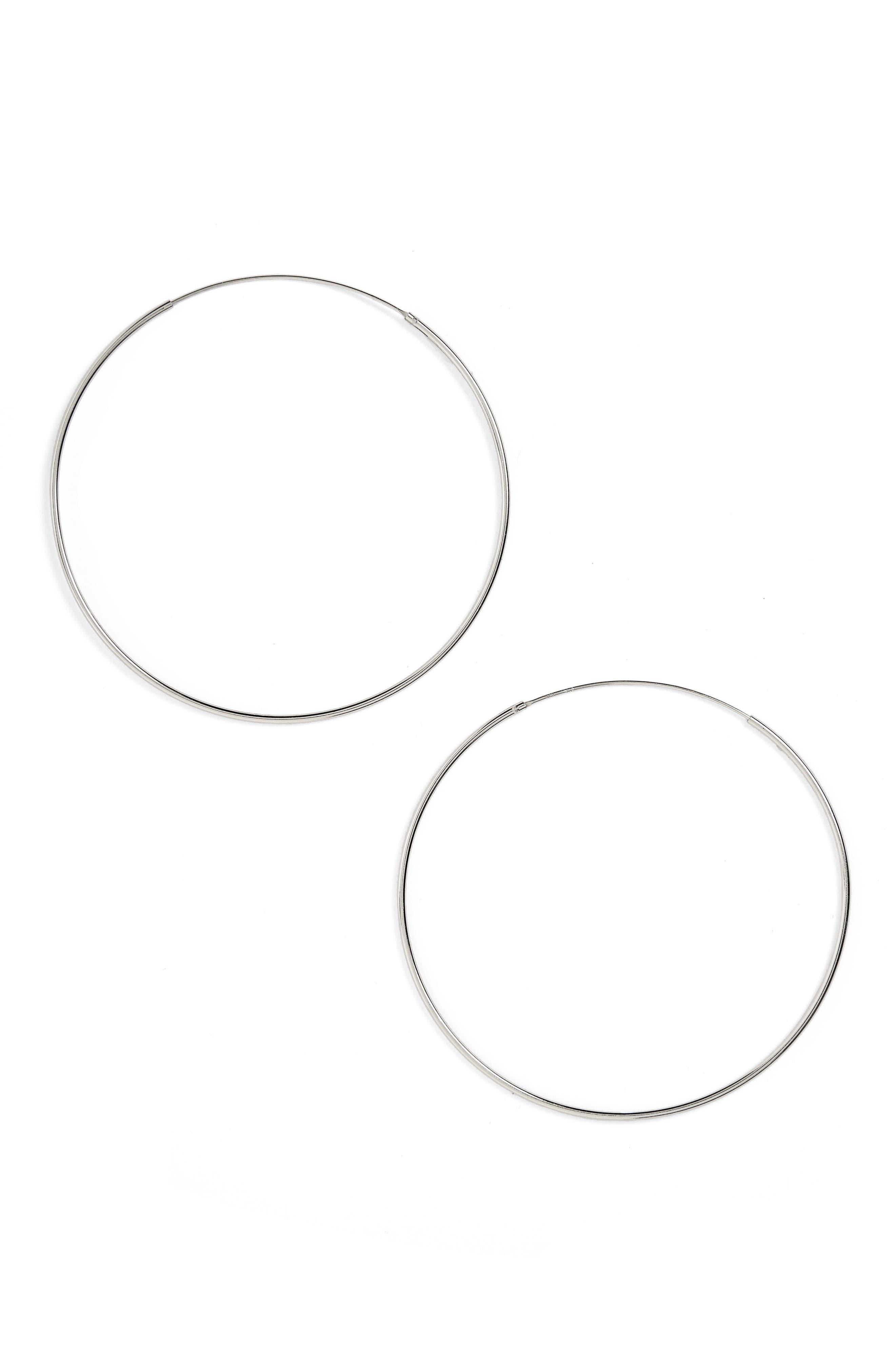 ARGENTO VIVO, Extra Large Endless Hoop Earrings, Alternate thumbnail 3, color, 040