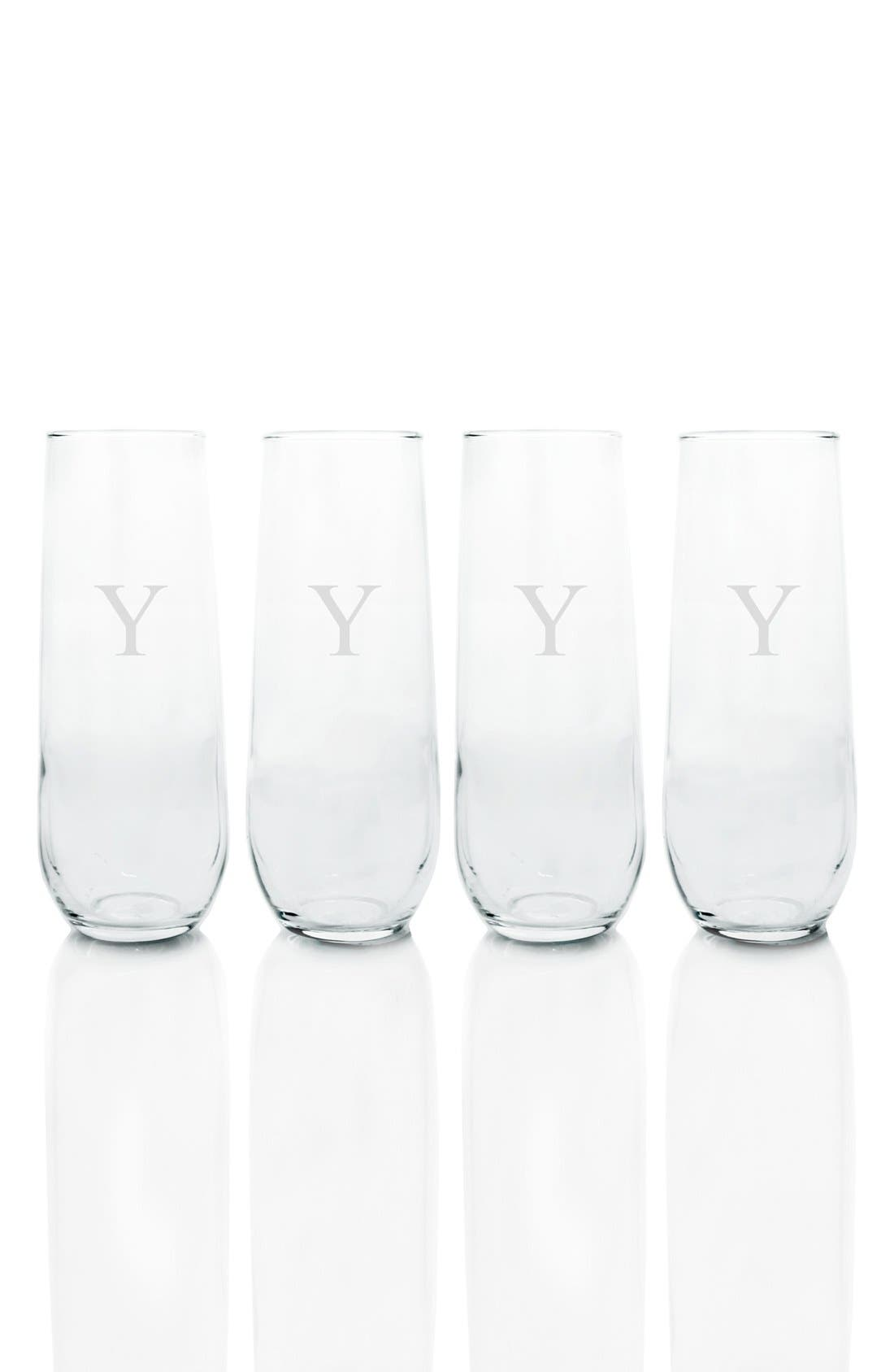 CATHY'S CONCEPTS, Monogram Stemless Champagne Flutes, Main thumbnail 1, color, Y