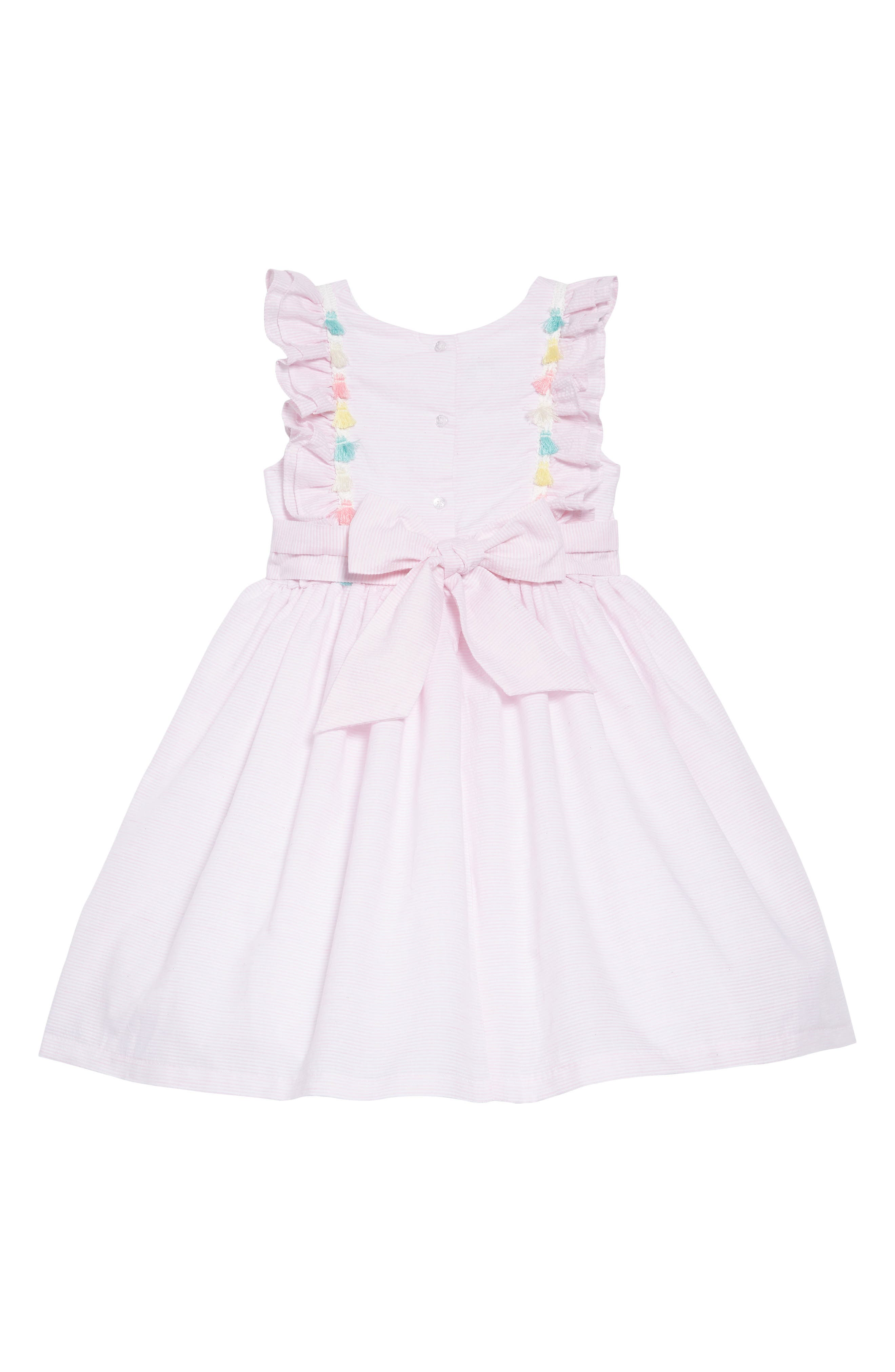 PIPPA & JULIE, Tassel Trim Seersucker Dress, Alternate thumbnail 3, color, 650