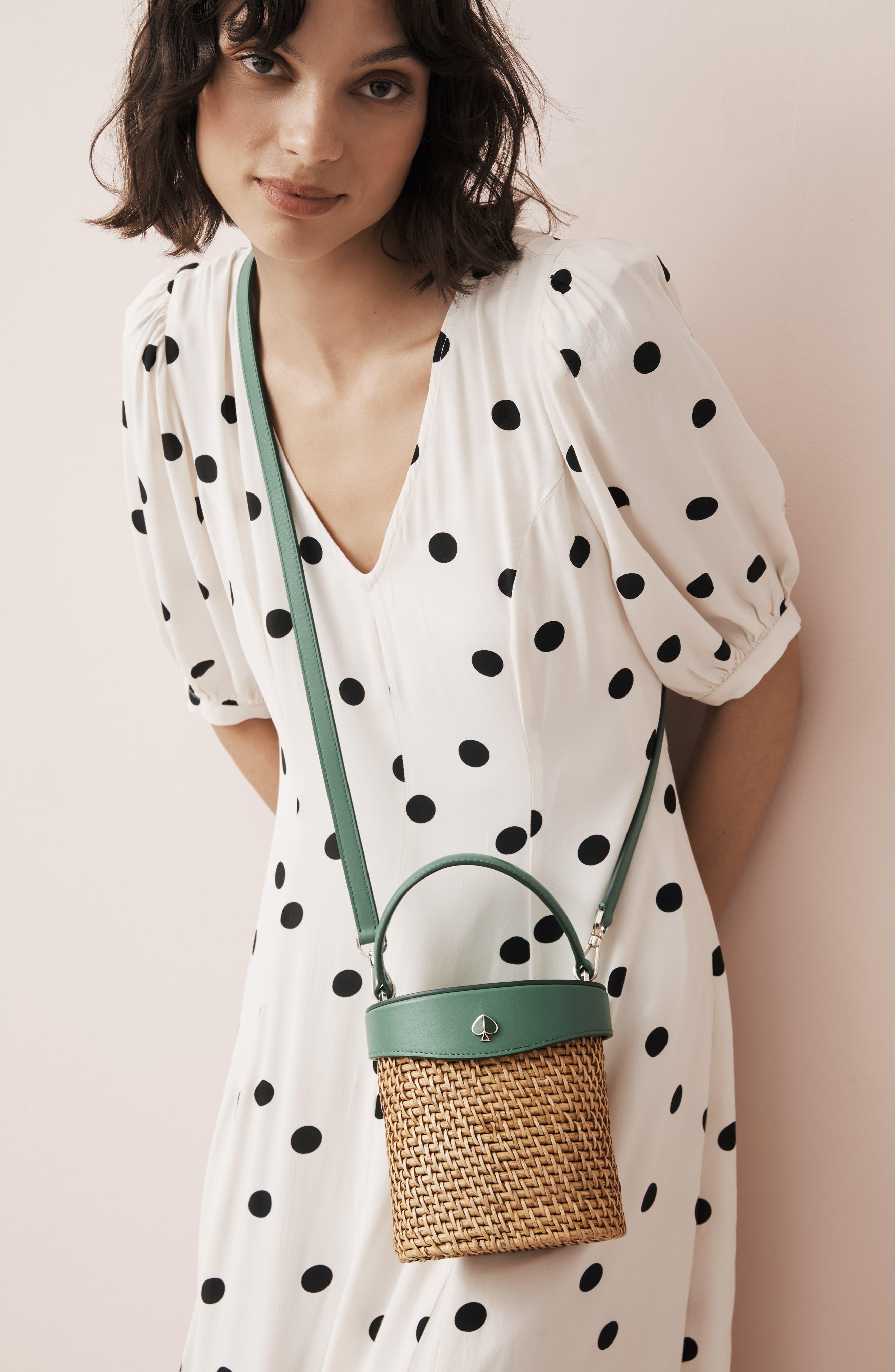 KATE SPADE NEW YORK, mini rose rattan bucket bag, Alternate thumbnail 7, color, GREEN BEAN