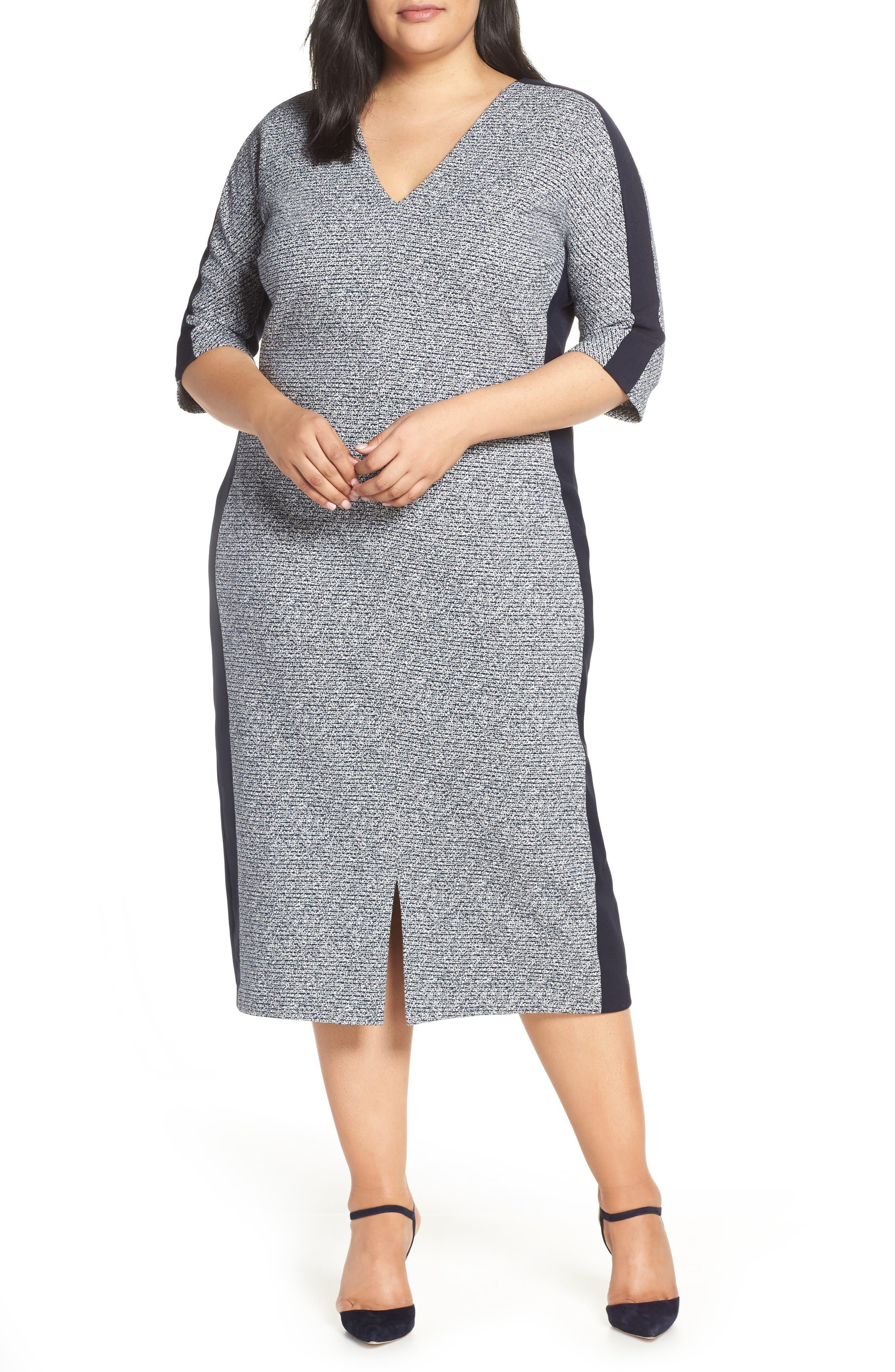 MAGGY LONDON, Metallic Ribbed Tweed V-Neck Sheath Dress, Main thumbnail 1, color, 462
