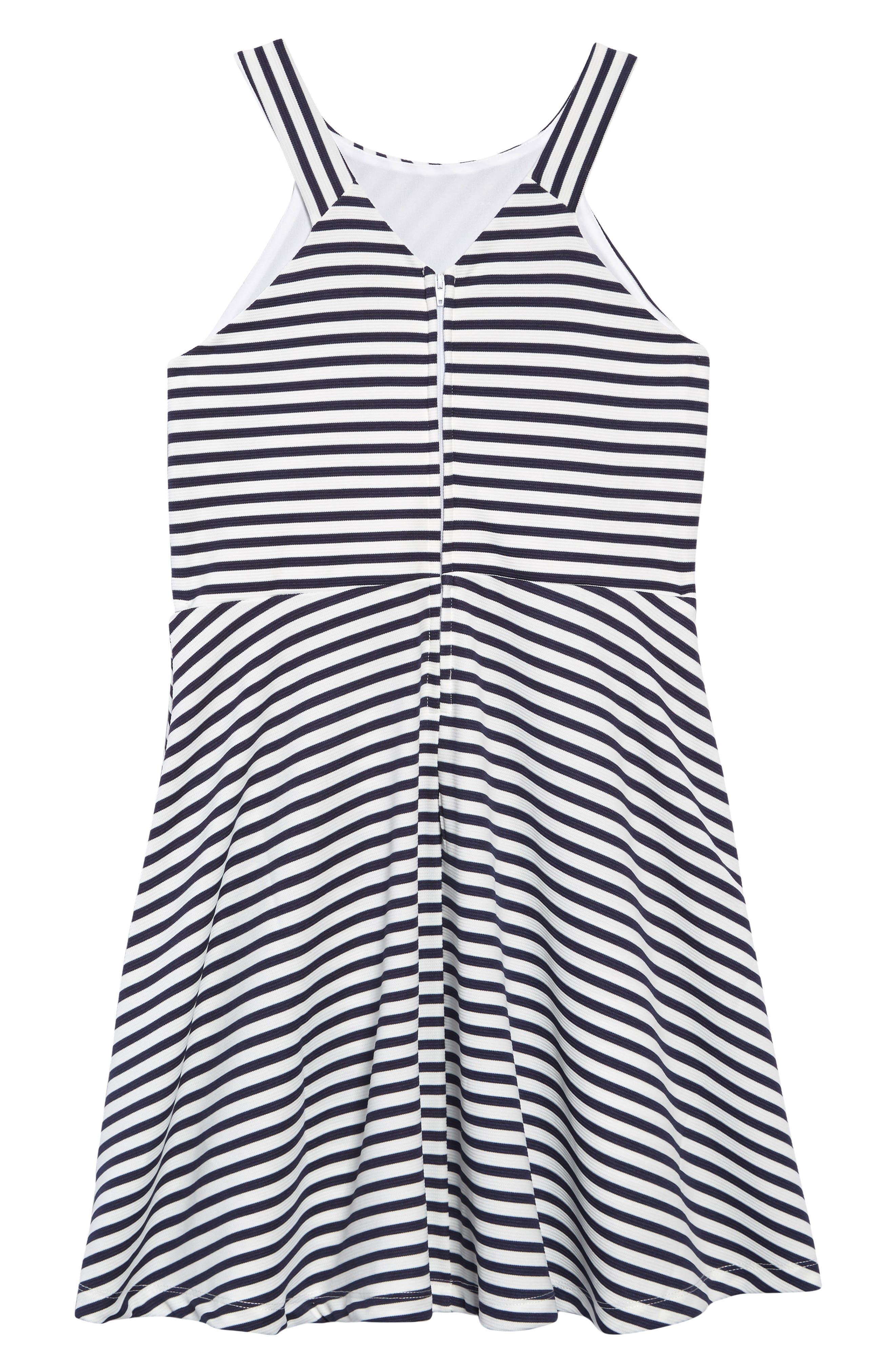 ZUNIE, Stripe Ottoman Skater Dress, Alternate thumbnail 2, color, NAVY/ WHITE