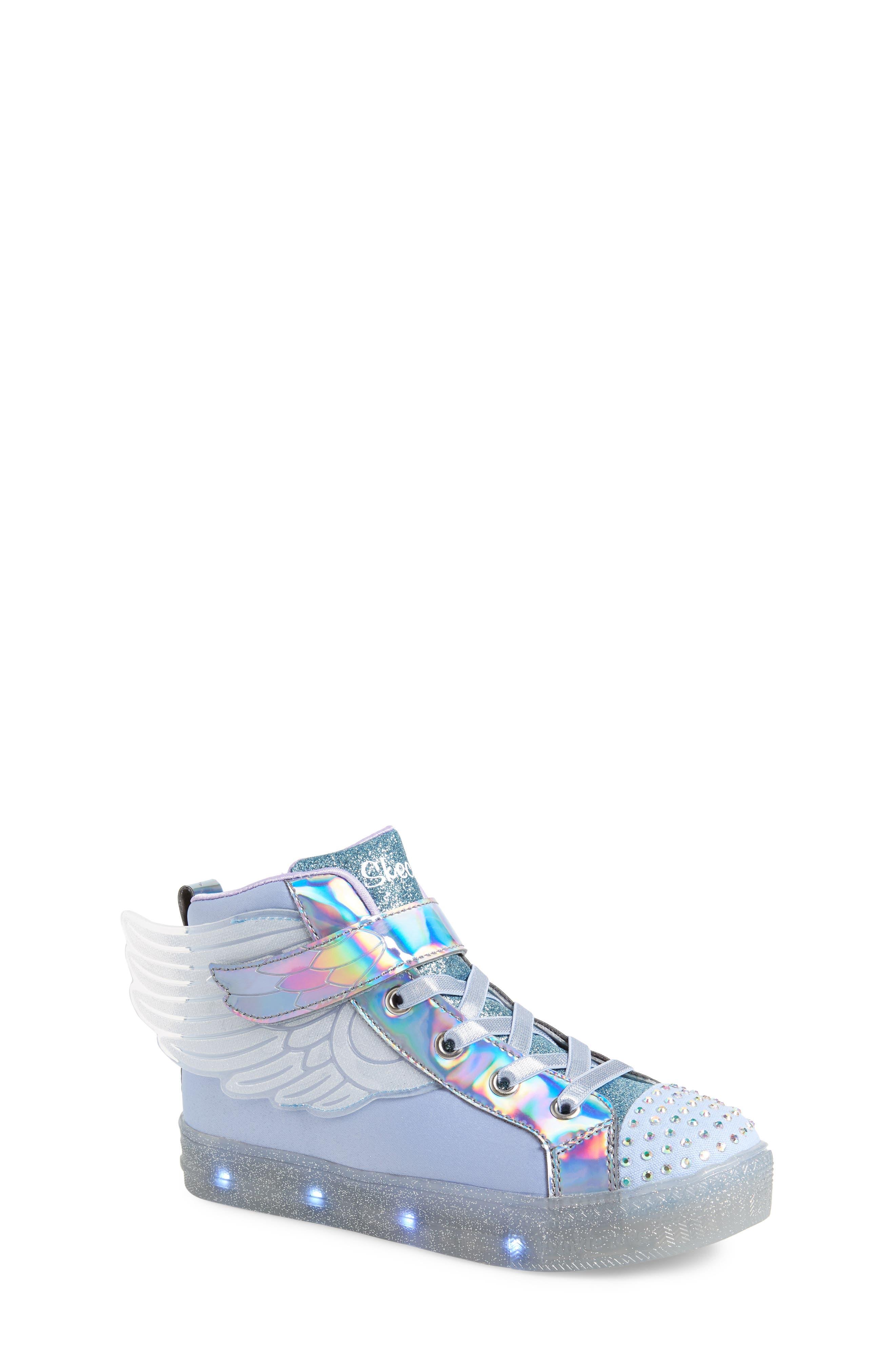SKECHERS, Twinkle Toes Light-Up Sneaker, Alternate thumbnail 7, color, PERIWINKLE