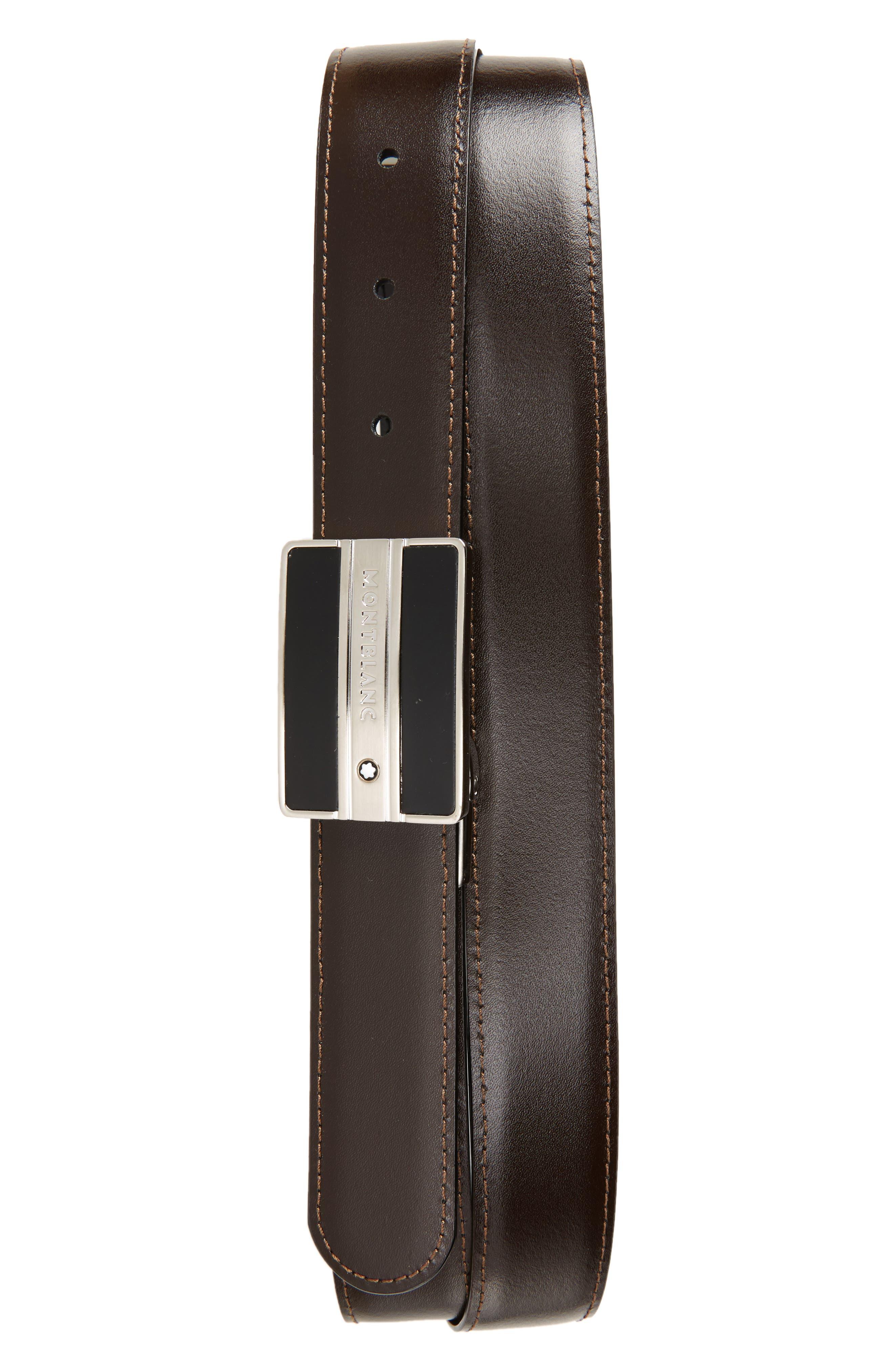 MONTBLANC, Meisterstück Buckle Reversible Leather Belt, Alternate thumbnail 2, color, BLACK/ BROWN