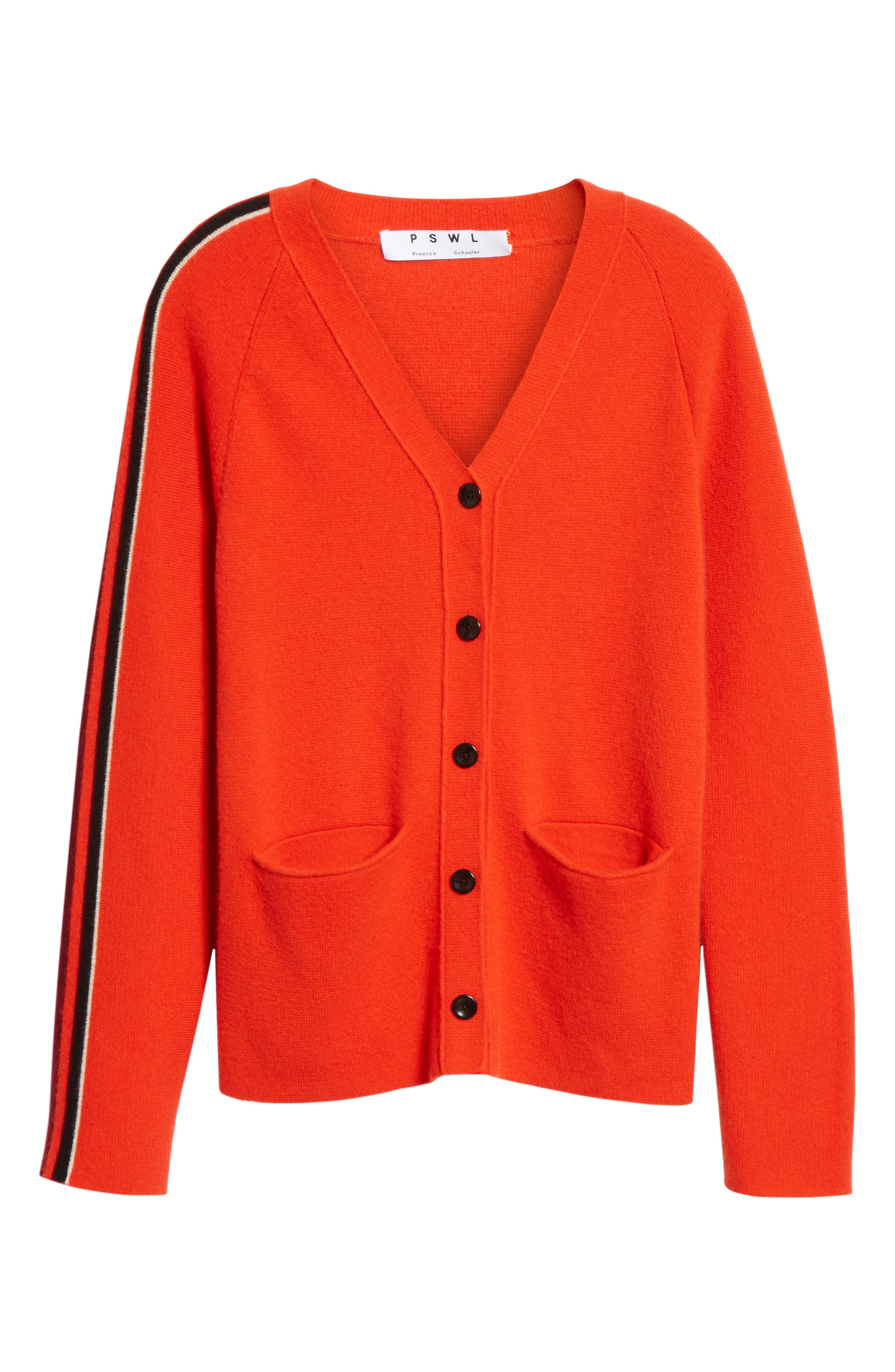 PROENZA SCHOULER, PSWL Stripe Sleeve Merino Wool & Cashmere Cardigan, Alternate thumbnail 6, color, RED COMBO