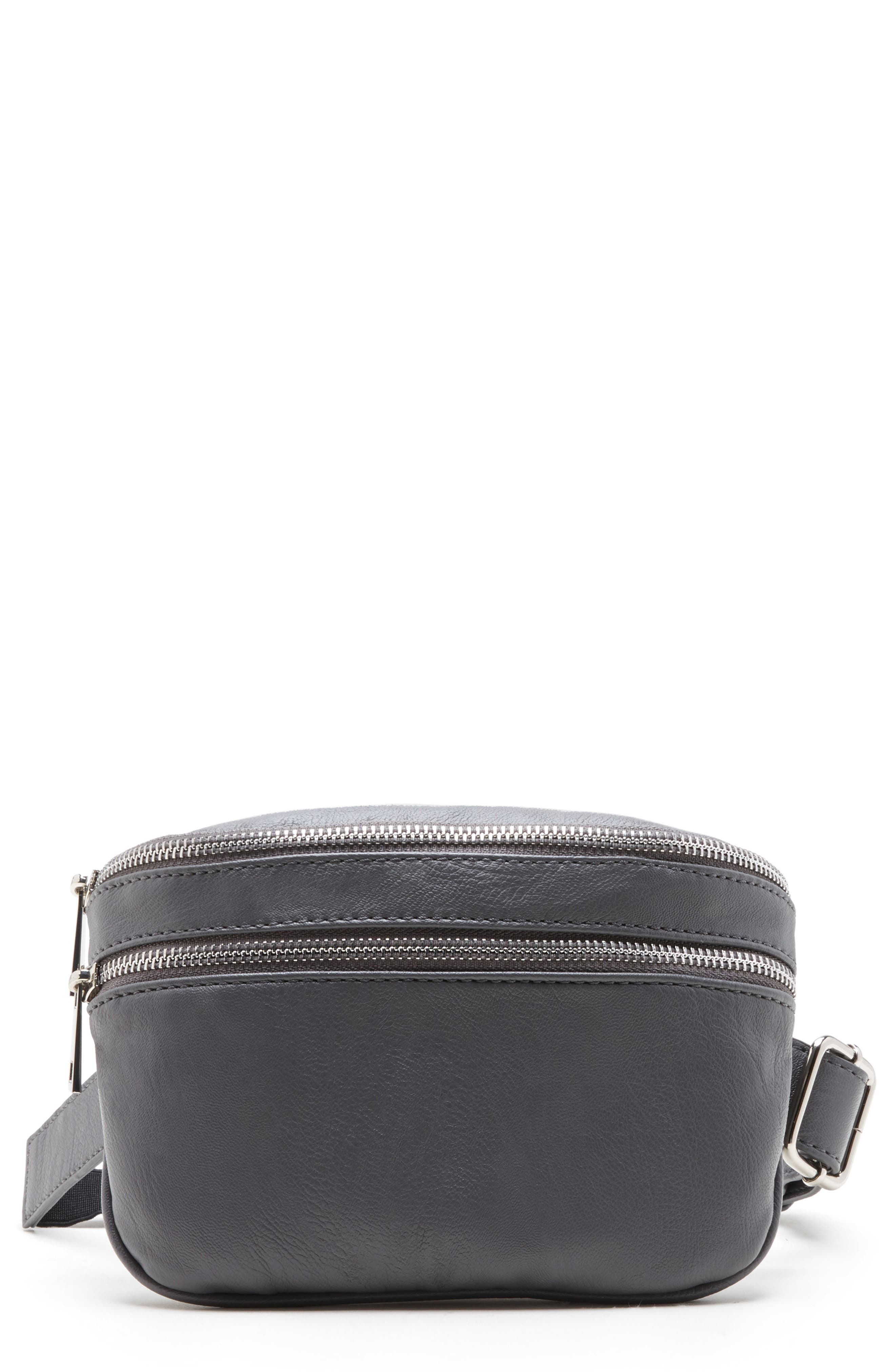 SOLE SOCIETY, Cadee Faux Leather Belt Bag, Main thumbnail 1, color, CHARCOAL