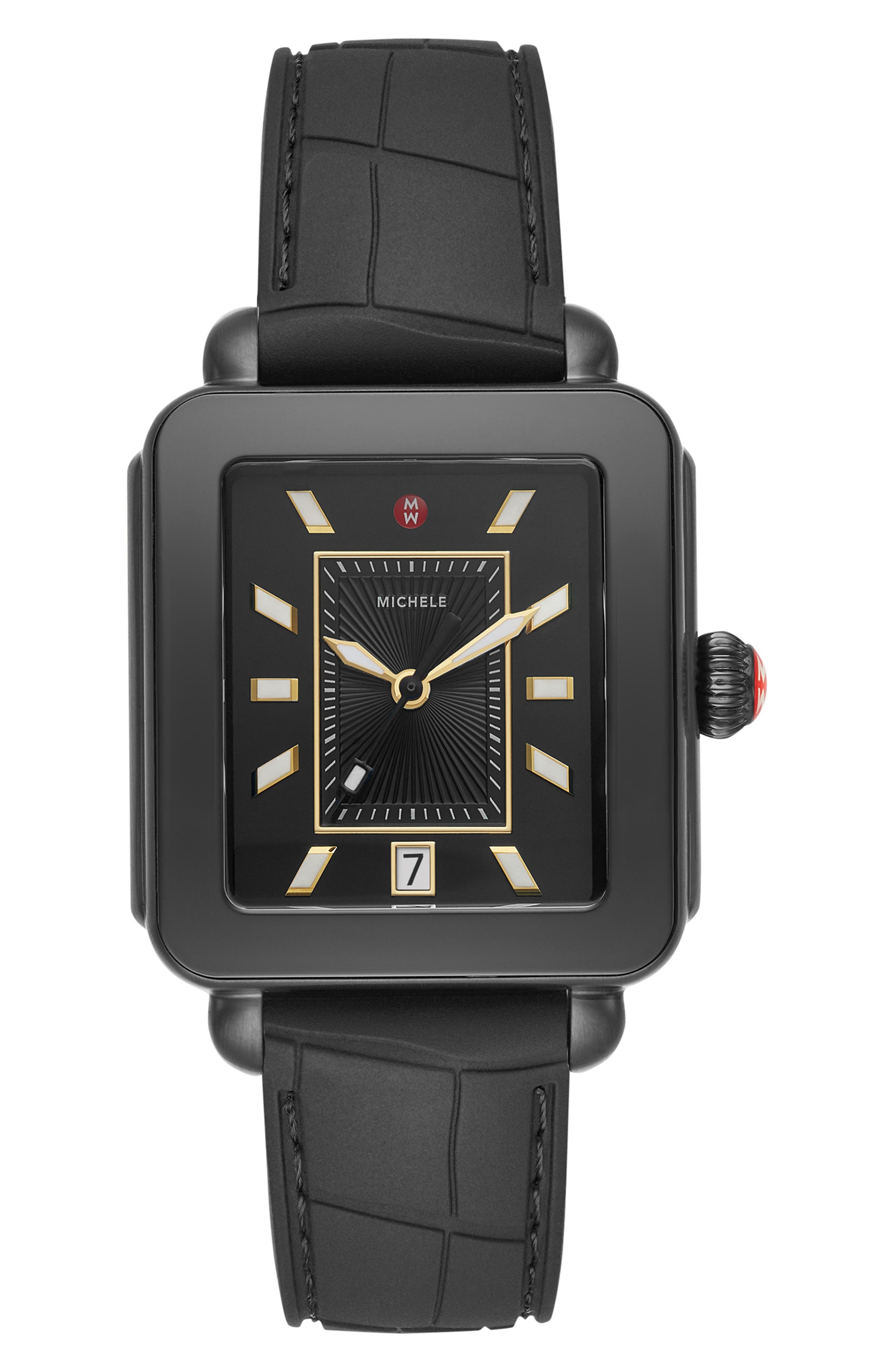 MICHELE, Deco Sport Watch Head & Silicone Strap Watch, 34mm x 36mm, Main thumbnail 1, color, BLACK/ GOLD/ BLACK