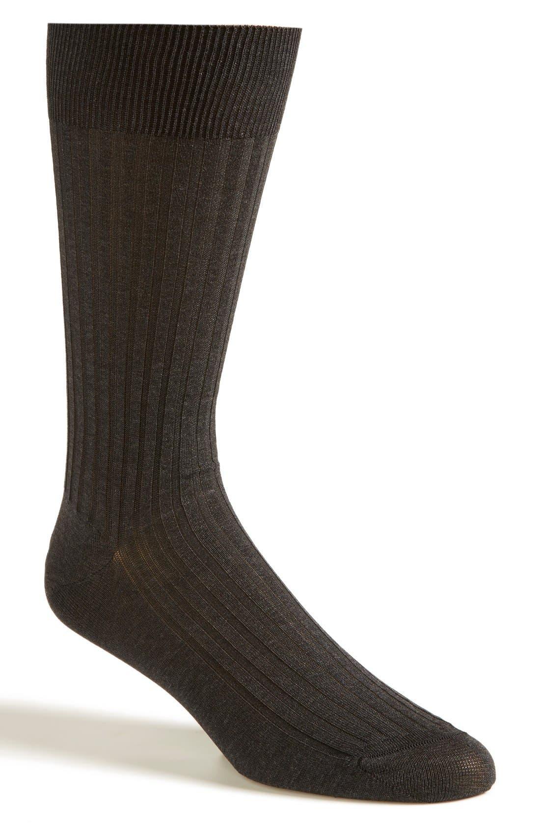 PANTHERELLA, Cotton Blend Mid Calf Dress Socks, Main thumbnail 1, color, DARK GREY 08