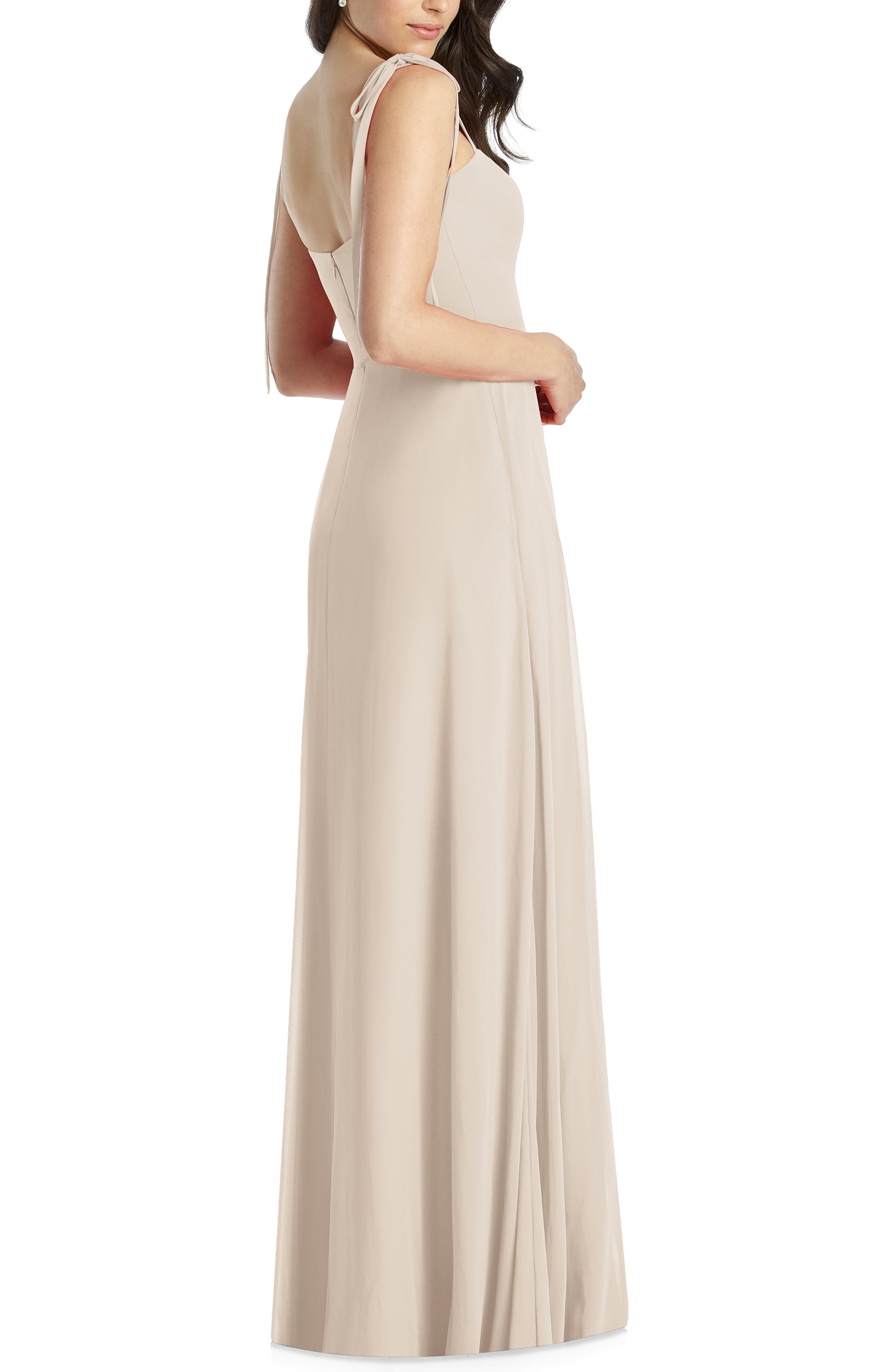 DESSY COLLECTION, Shoulder Tie Chiffon Evening Dress, Alternate thumbnail 2, color, CAMEO