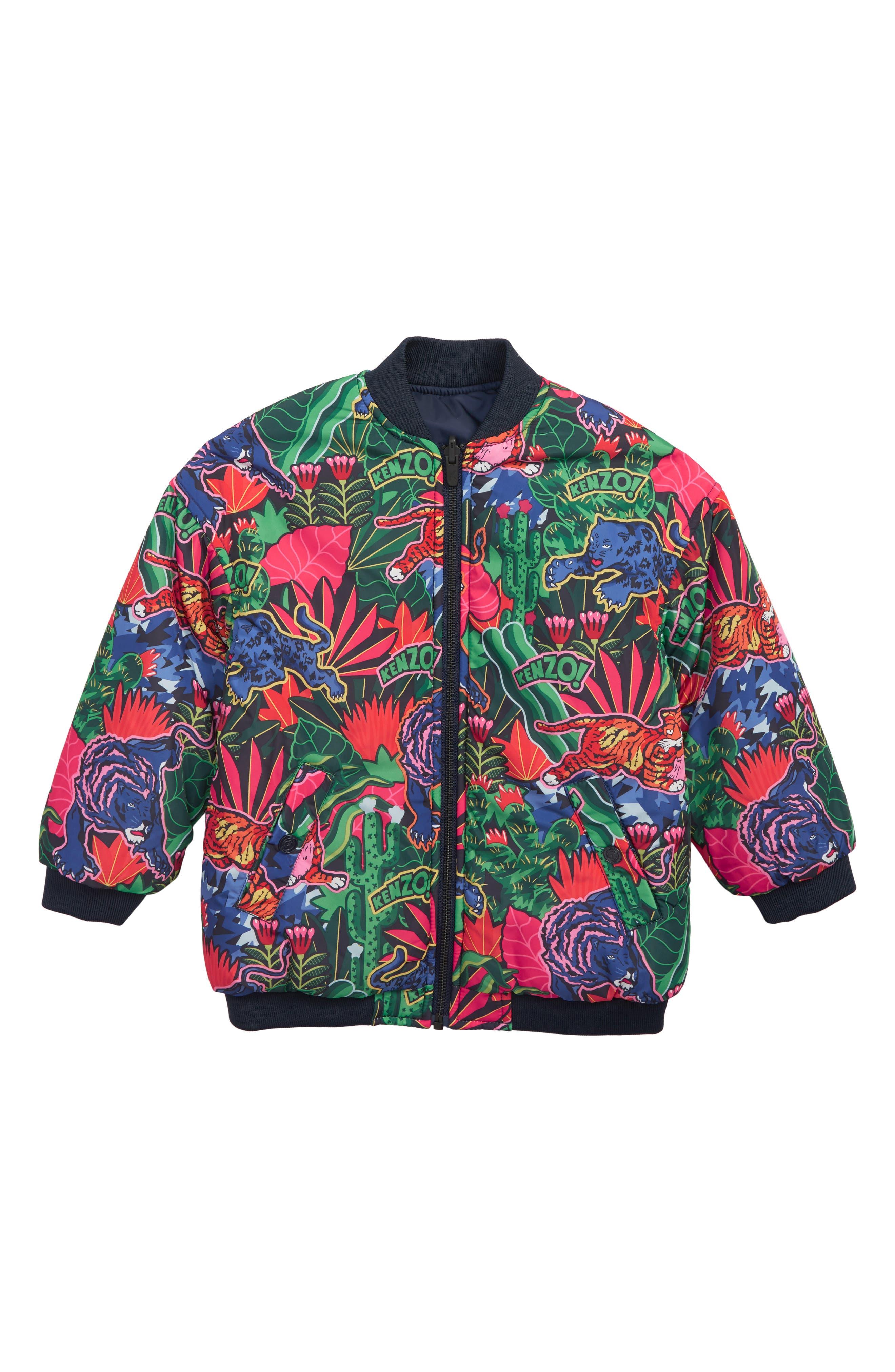 KENZO, Reversible Puffer Jacket, Main thumbnail 1, color, NAVY