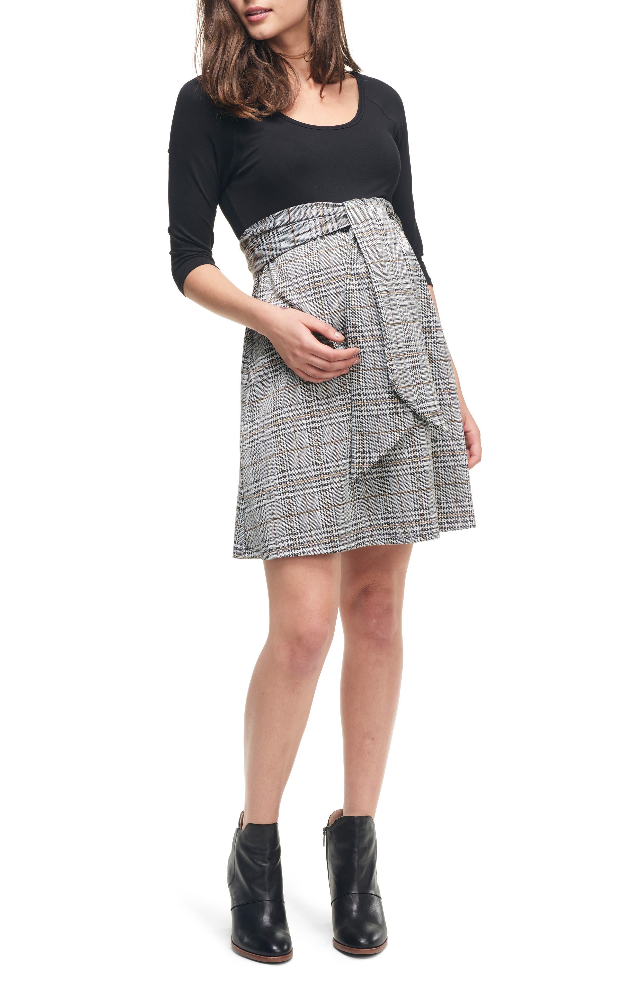 MATERNAL AMERICA, Scoop Neck Maternity Dress, Main thumbnail 1, color, BLACK/ PLAID