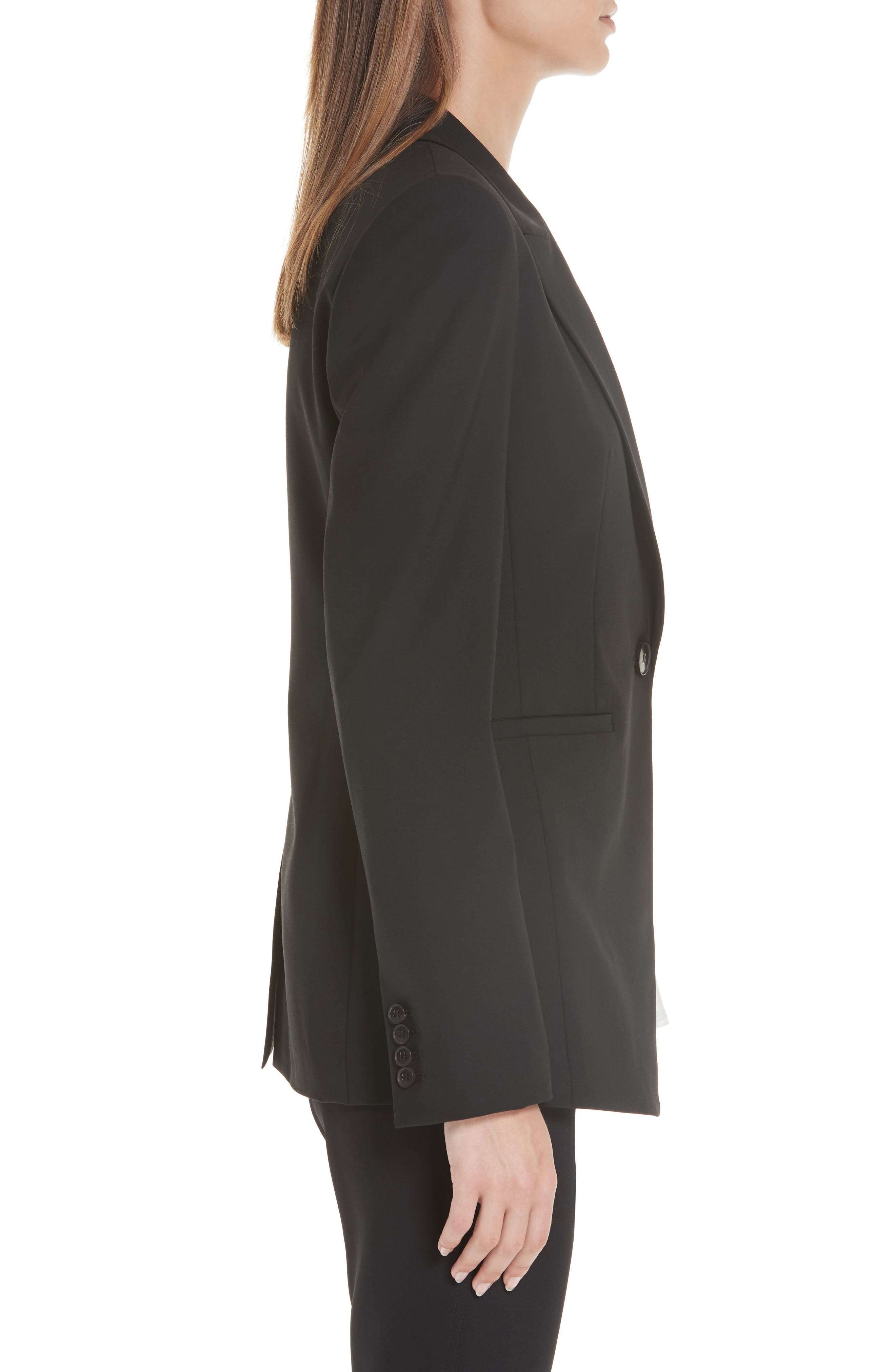 LAFAYETTE 148 NEW YORK, Charice Stretch Wool Jacket, Alternate thumbnail 5, color, BLACK