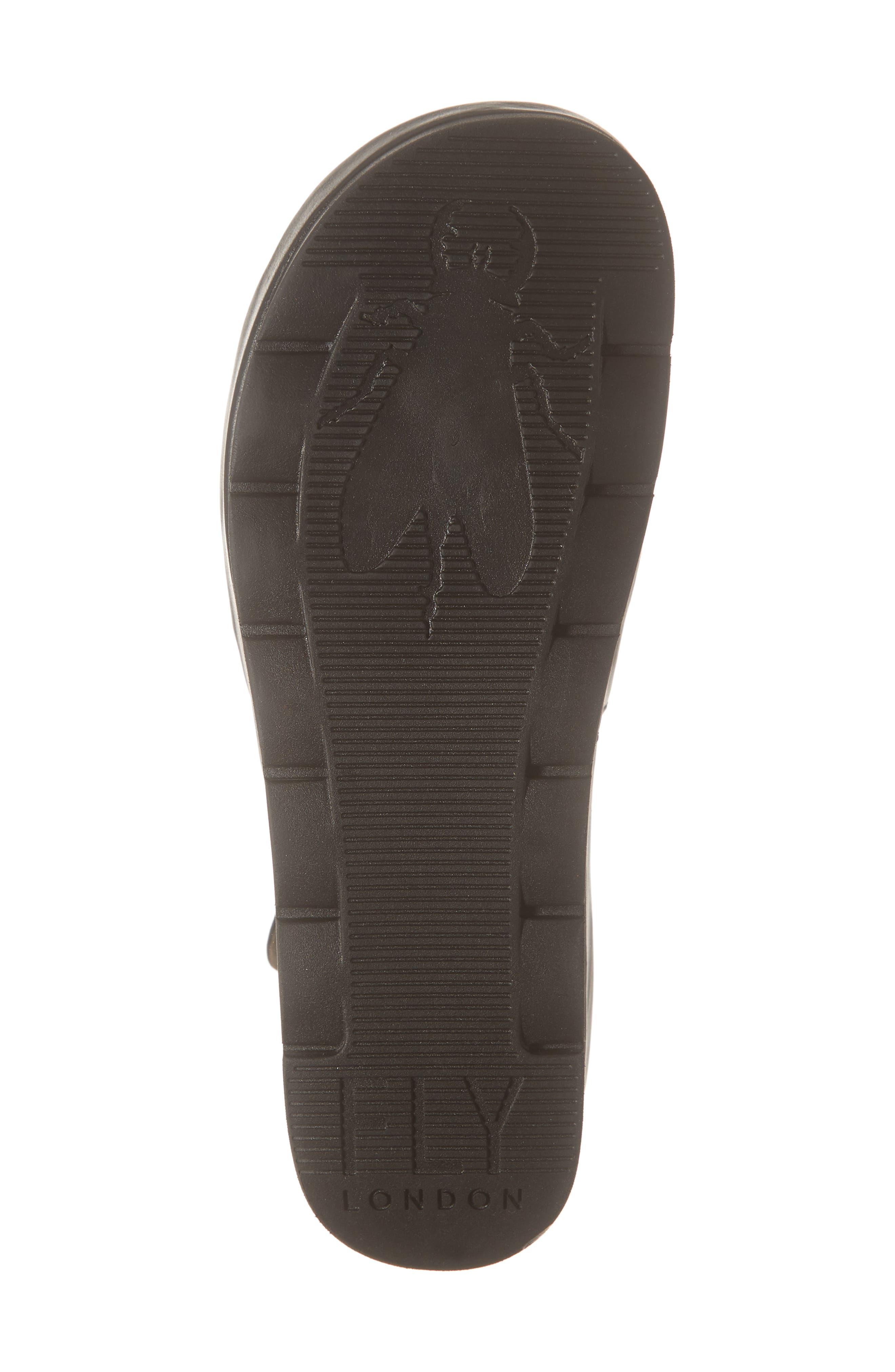 FLY LONDON, Bano Platform Sandal, Alternate thumbnail 6, color, BLACK LEATHER