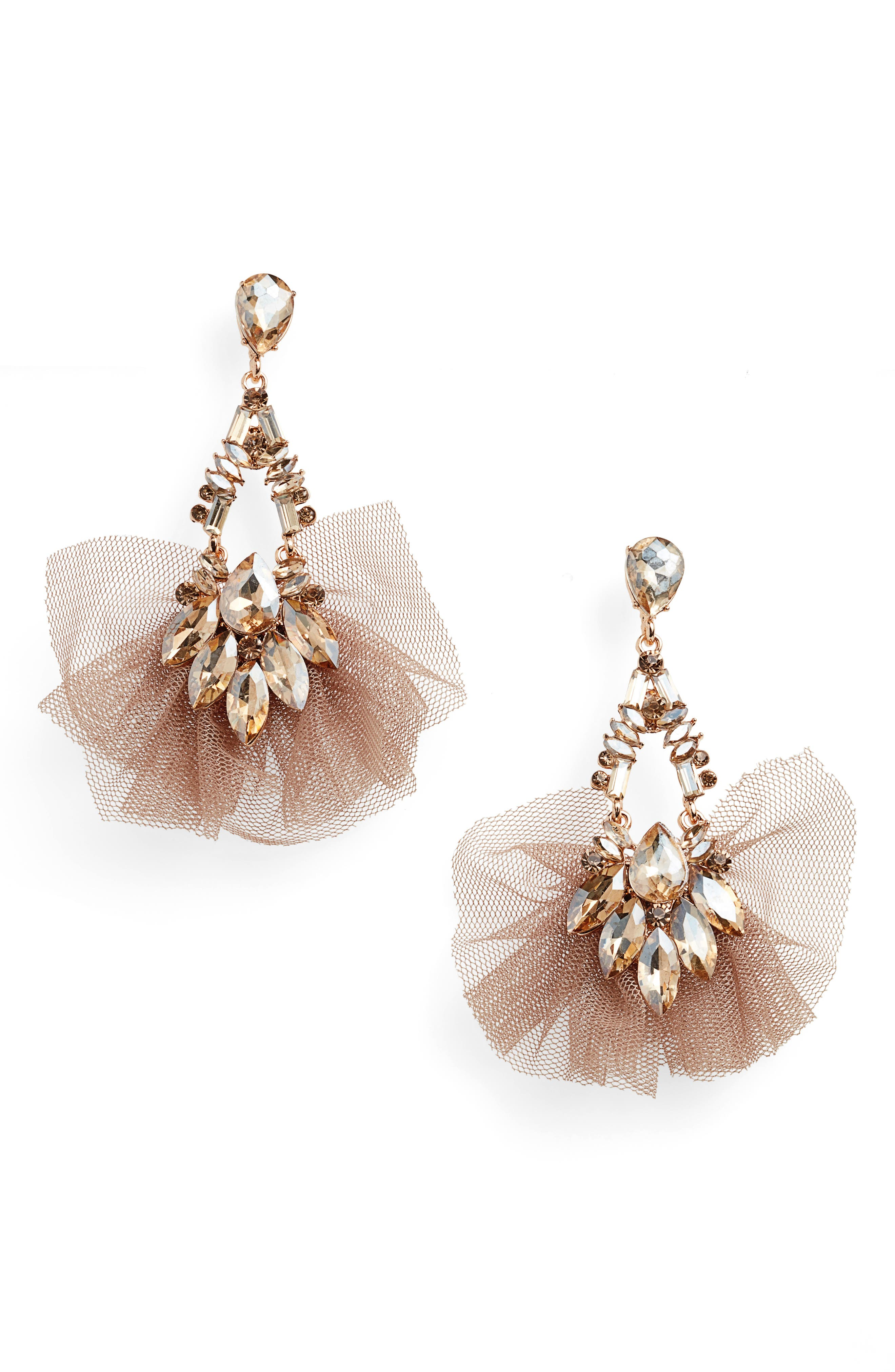 STELLA + RUBY, Tulle Drop Earrings, Main thumbnail 1, color, 710