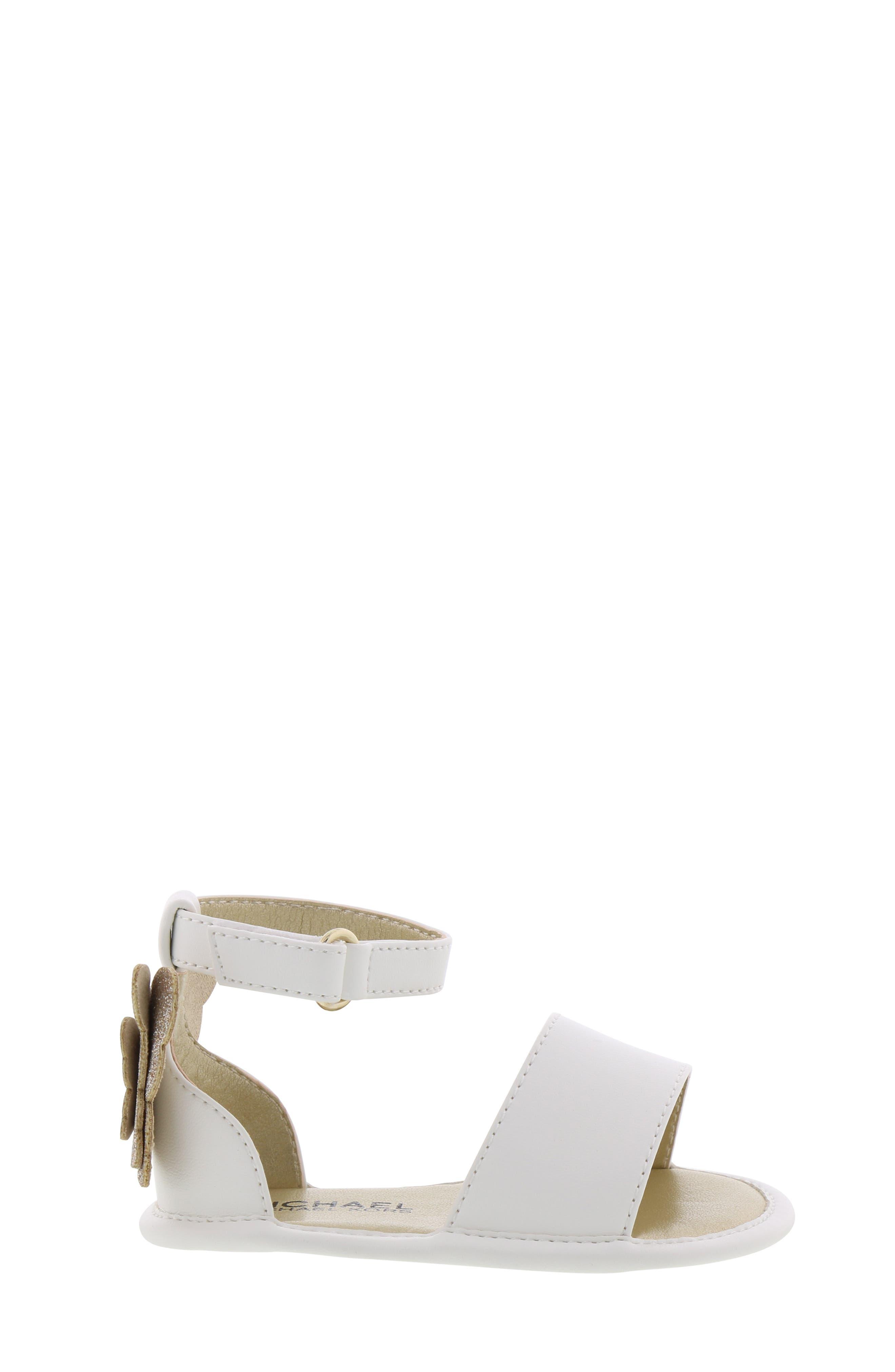 MICHAEL MICHAEL KORS, Tilly Sansa Glitter Sandal, Alternate thumbnail 3, color, WHITE