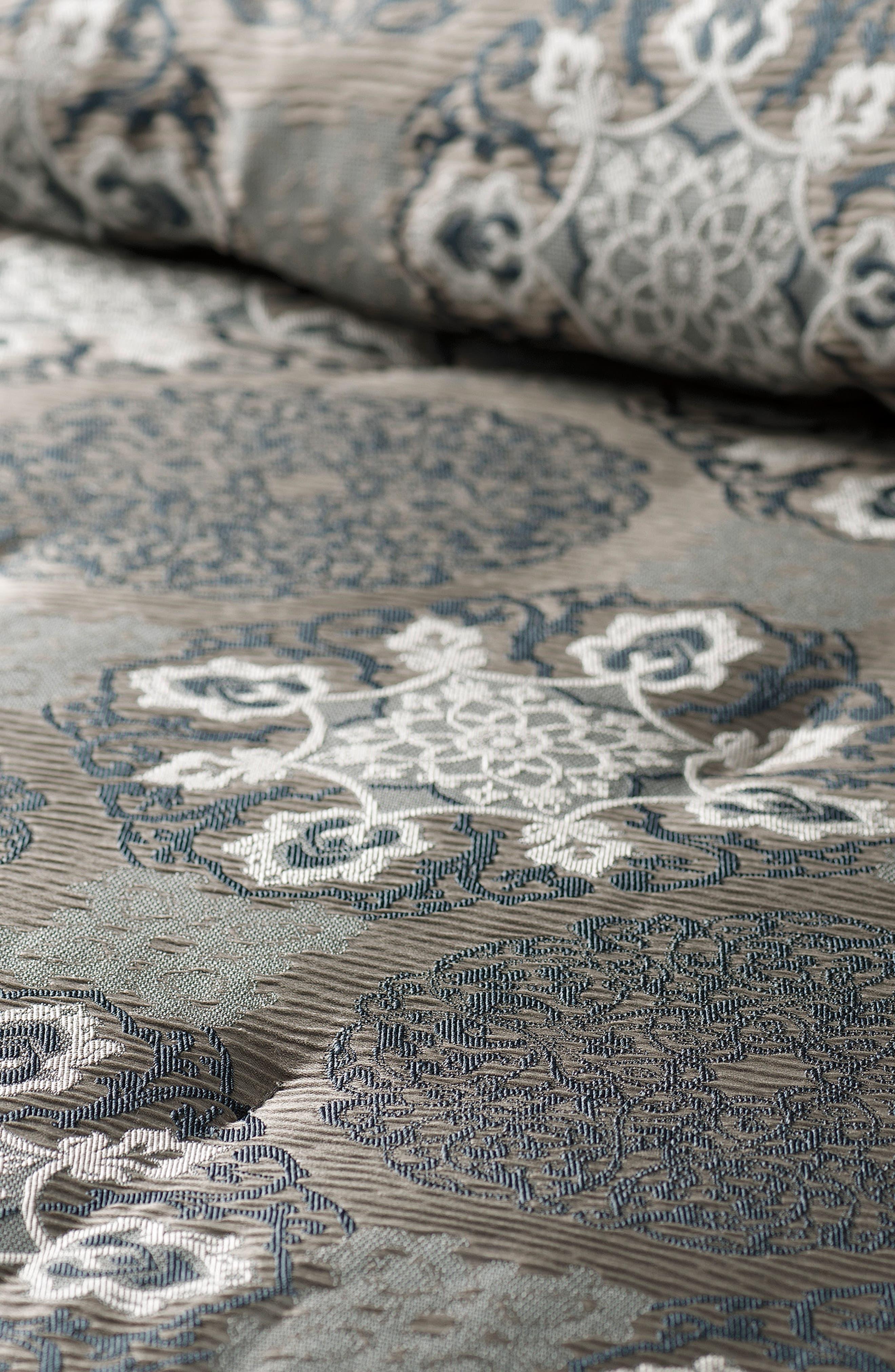 WATERFORD, Jonet Reversible Comforter, Sham & Bedskirt Set, Alternate thumbnail 2, color, INDIGO