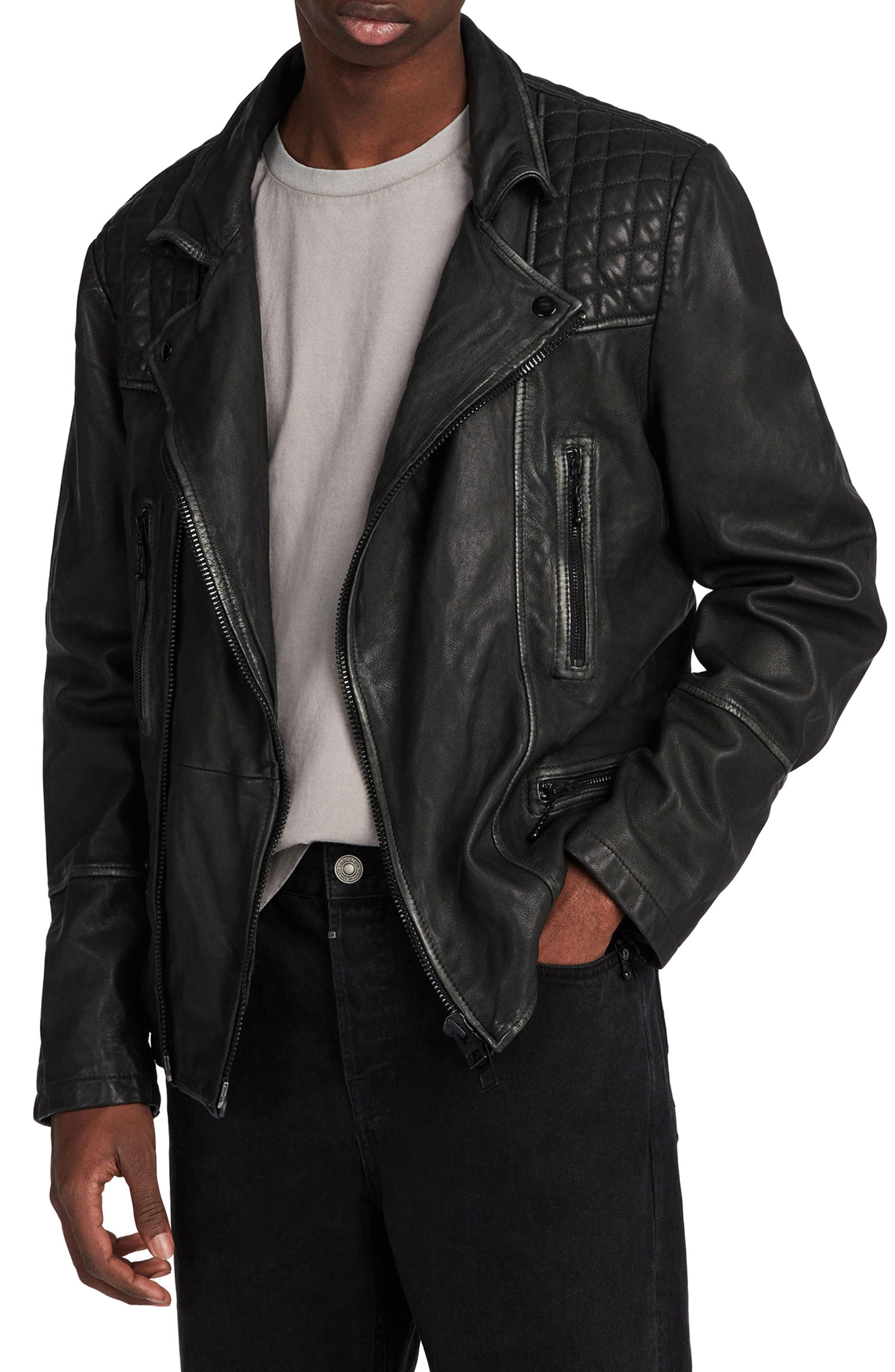 ALLSAINTS, Cargo Biker Slim Fit Leather Jacket, Main thumbnail 1, color, BLACK GREY