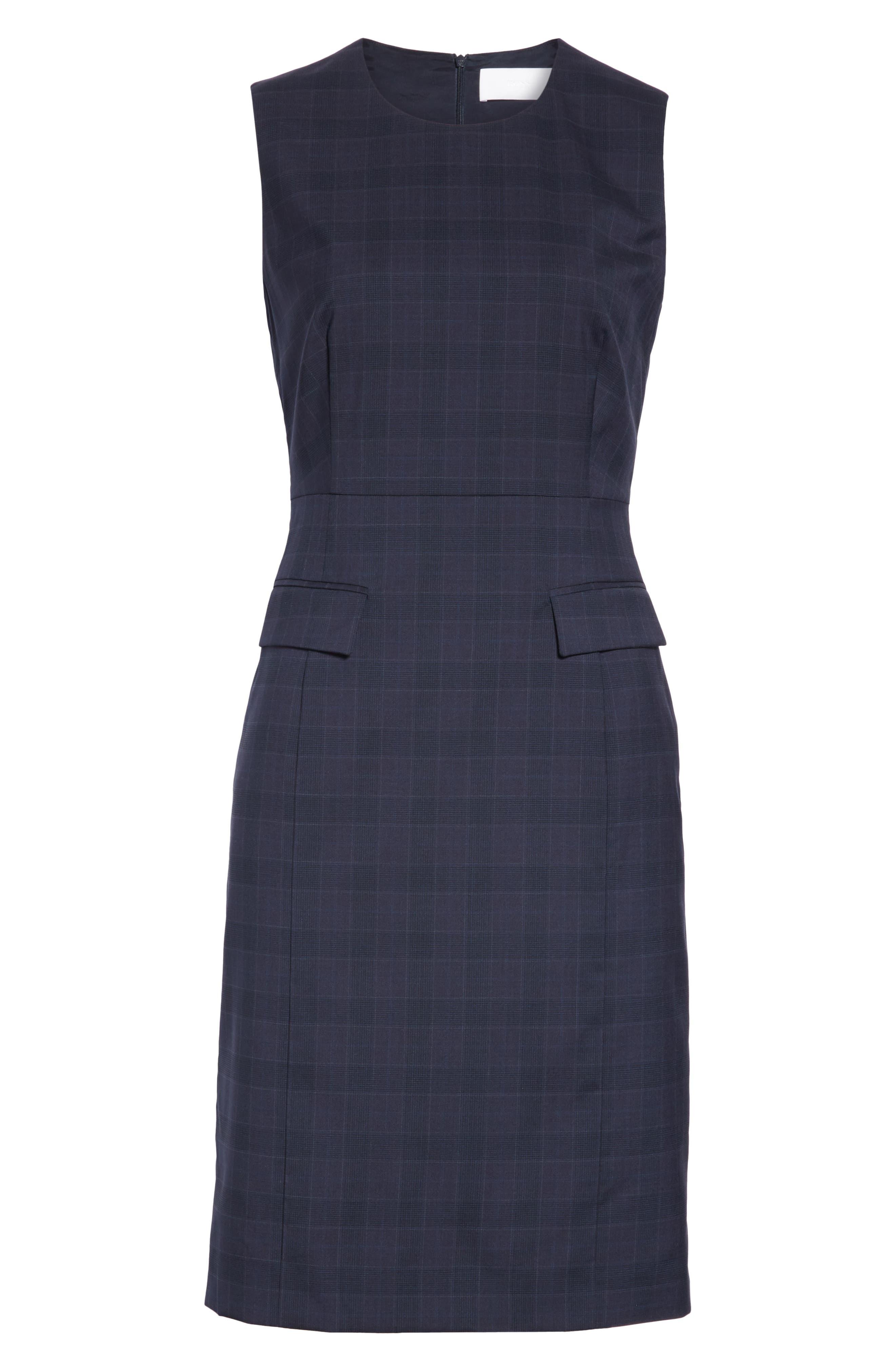 BOSS, Docanes Modern Check Wool Dress, Alternate thumbnail 7, color, DARK NAVY FANTASY