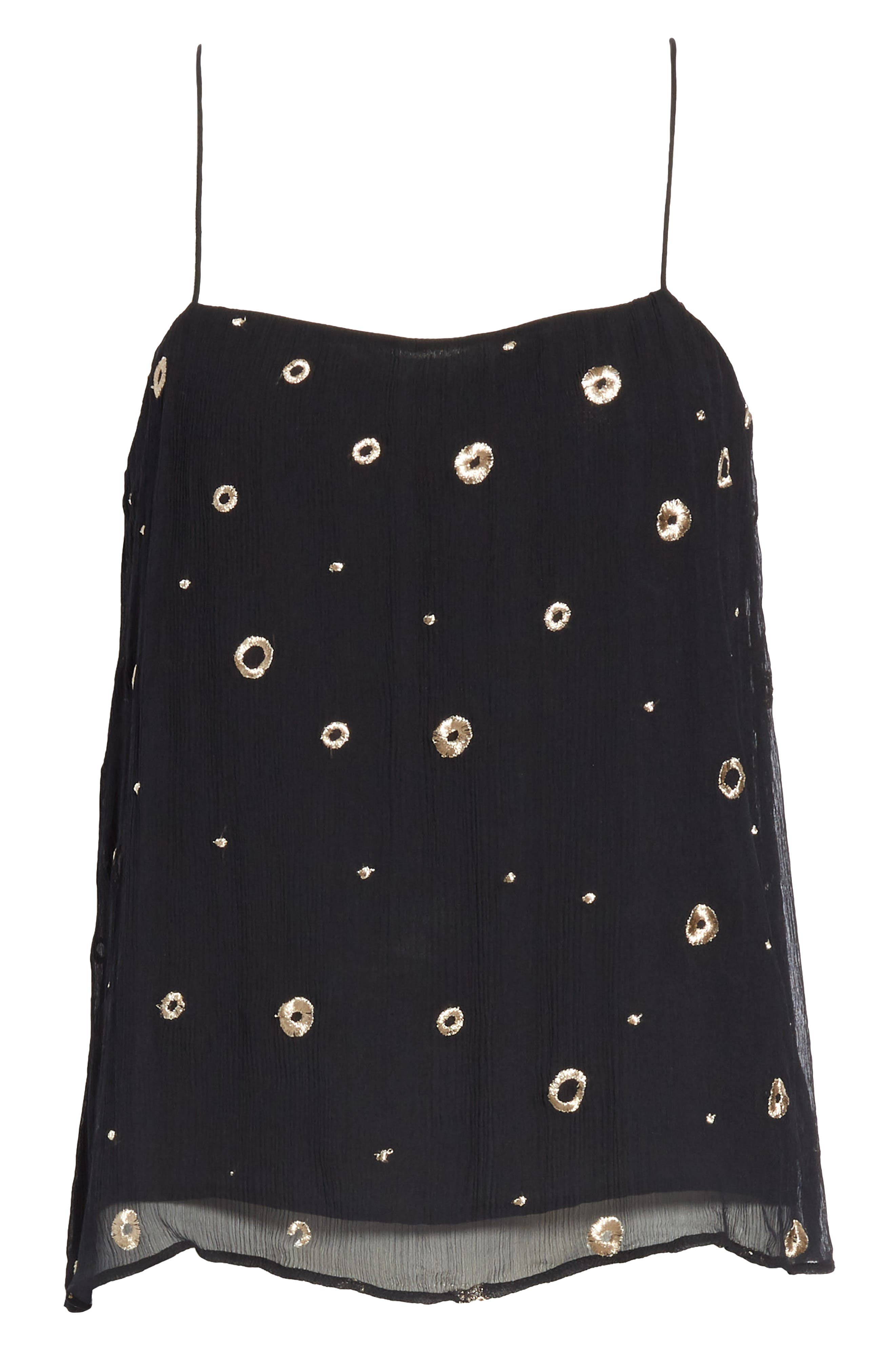 VINCE, Open Dot Metallic Embroidered Silk Camisole, Alternate thumbnail 6, color, BLACK