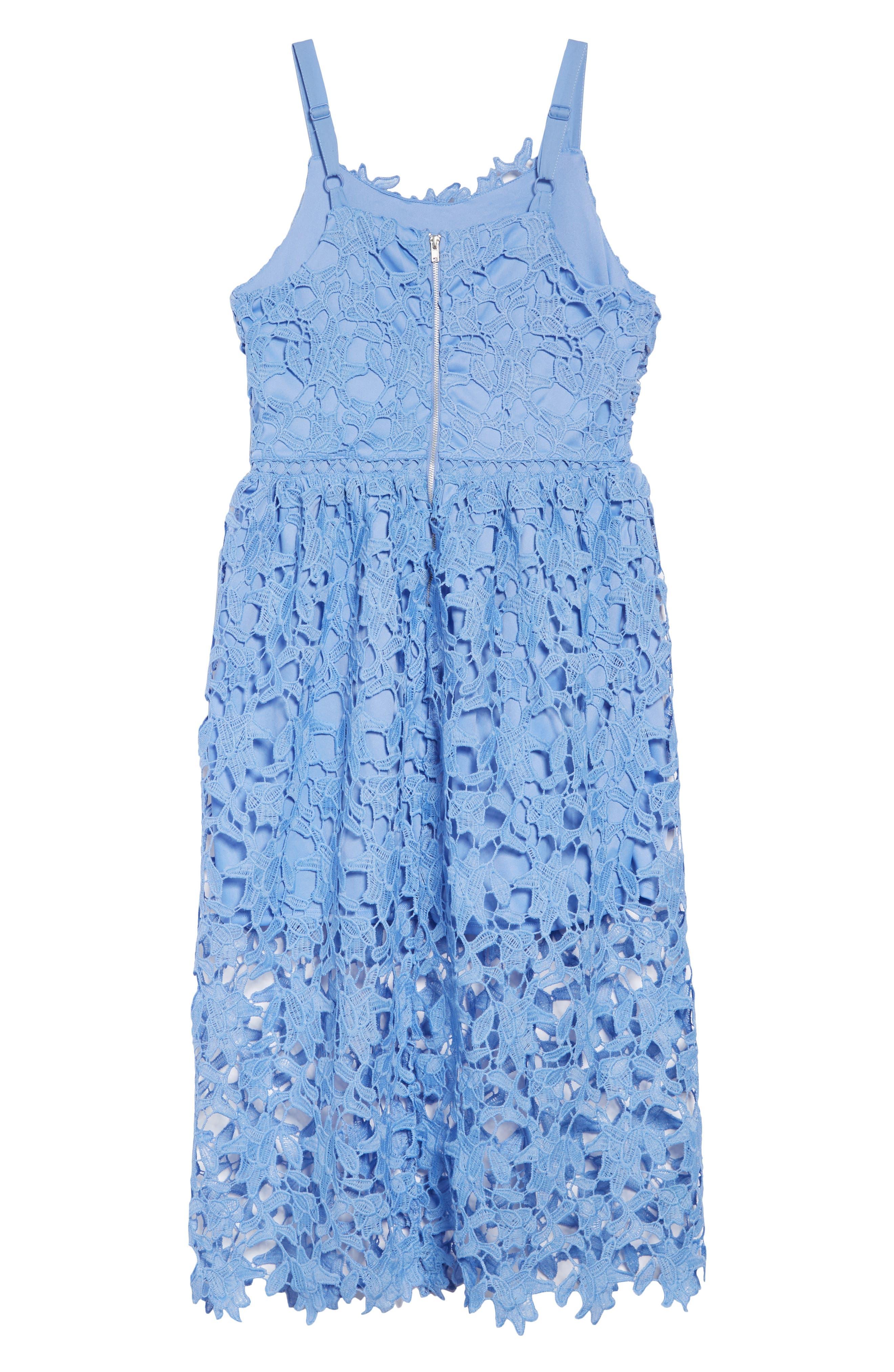 TRIXXI, Floral Lace Dress, Alternate thumbnail 2, color, PERIWINKLE