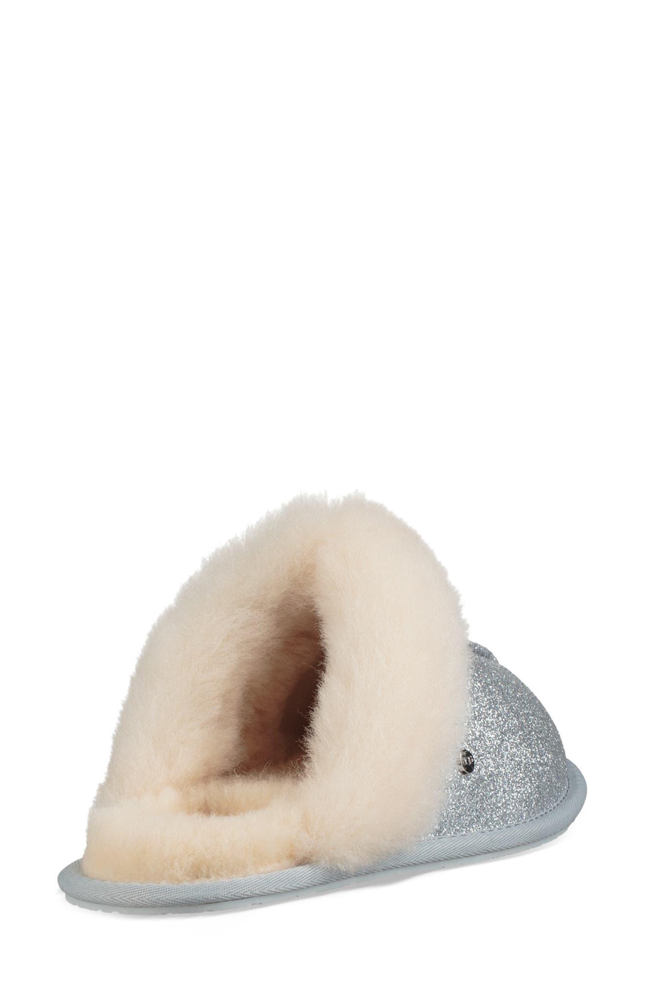 UGG<SUP>®</SUP>, Scuffette II Sparkle Genuine Shearling Slipper, Alternate thumbnail 2, color, SILVER