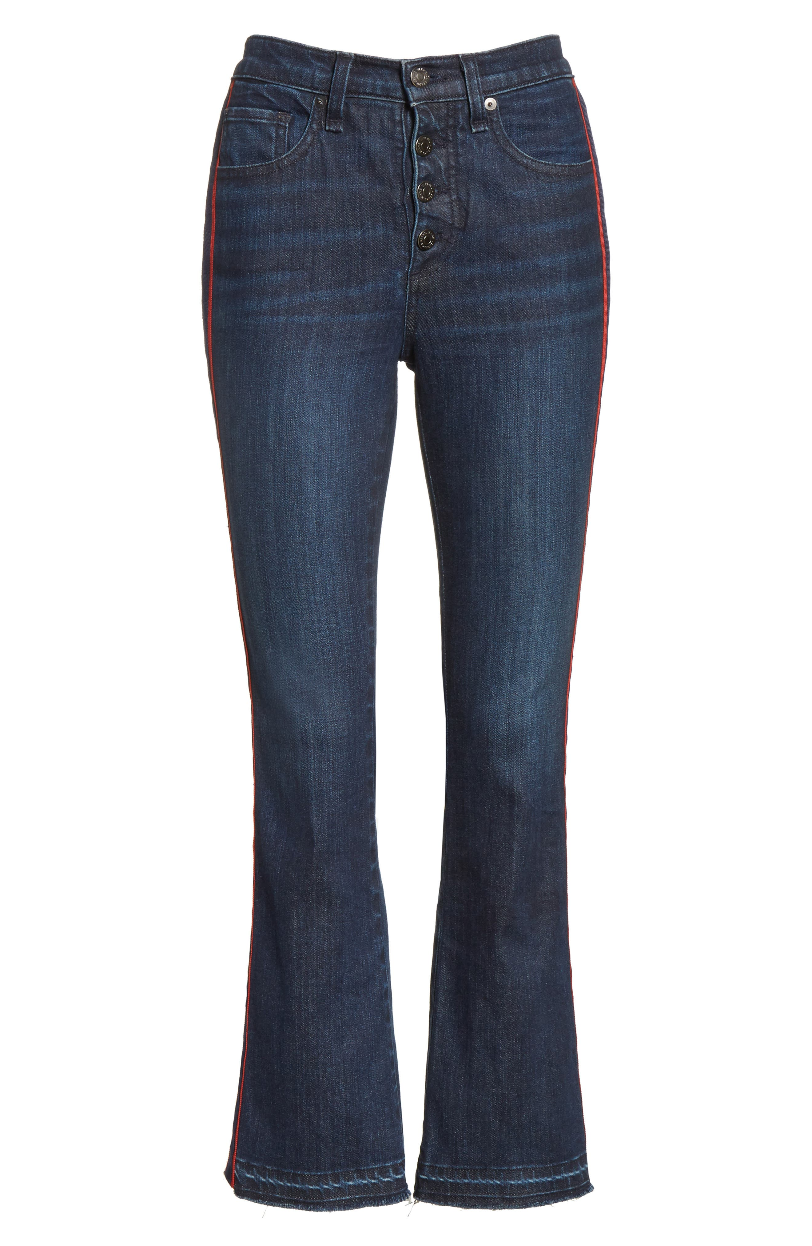 VERONICA BEARD, Carolyn Tuxedo Stripe Baby Boot Crop Jeans, Alternate thumbnail 6, color, MIDNIGHT FRAY/ RED