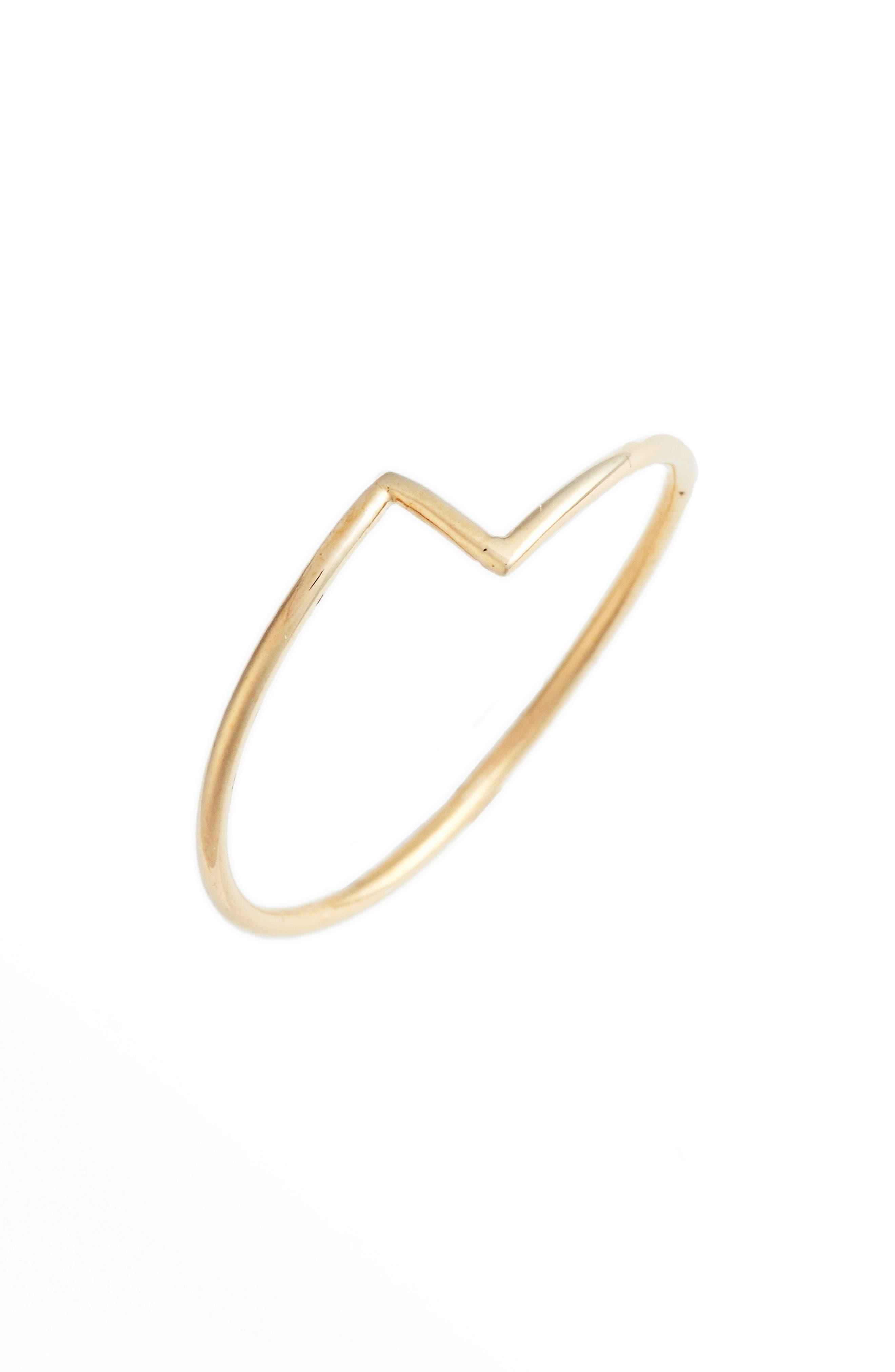 BONY LEVY, Thin Zigzag Stacking Ring, Main thumbnail 1, color, YELLOW GOLD