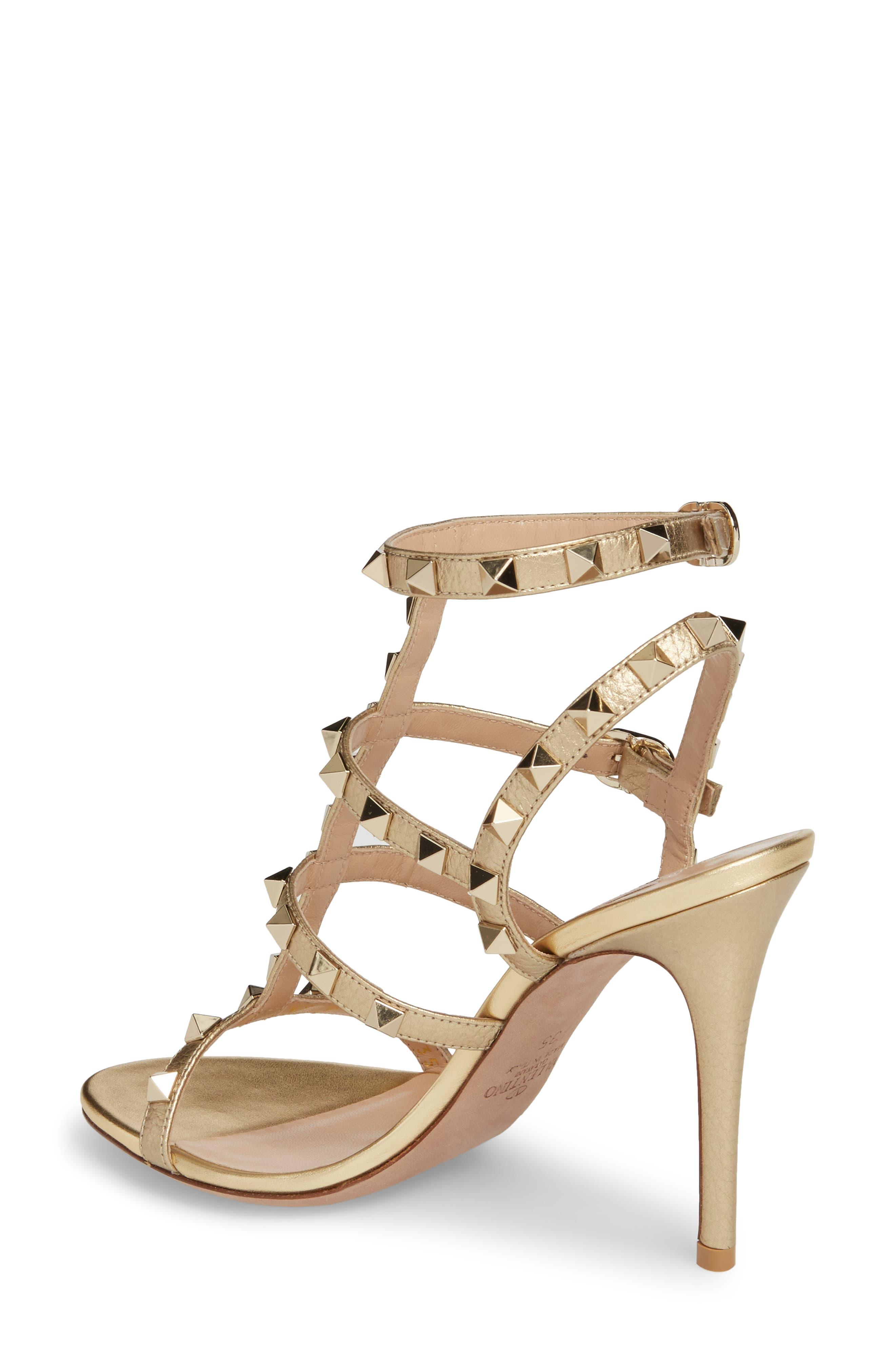 VALENTINO GARAVANI, Rockstud Metallic Ankle Strap Sandal, Alternate thumbnail 2, color, 710